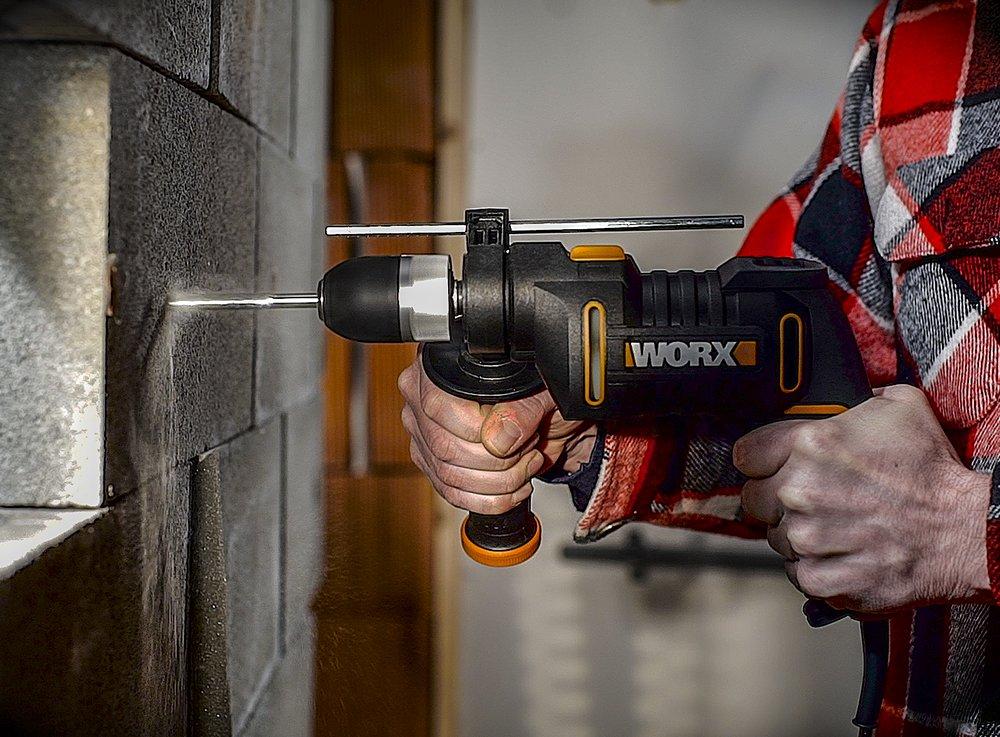 WORX-WX-Schlagbohrmaschine-Drehzahlregulierung-Tiefenanschlag-werkzeuglosem-Bohrfutter-Bohren-in-Holz-Beton-Stahl
