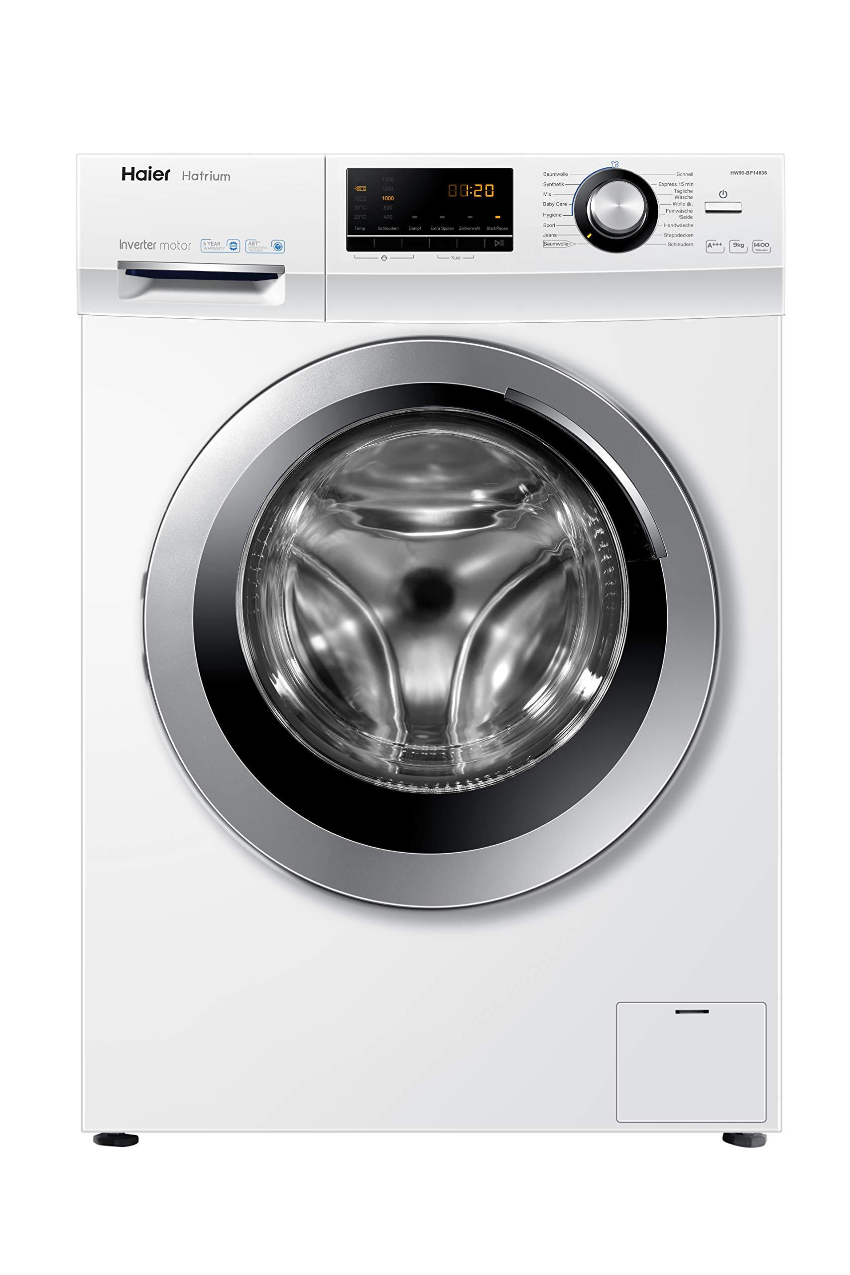 Haier-HW90-BP14636-Waschmaschine-Frontlader-9-kgA-121-kWh-1400-UpMSteam-Dampffunktion-AquaProtect