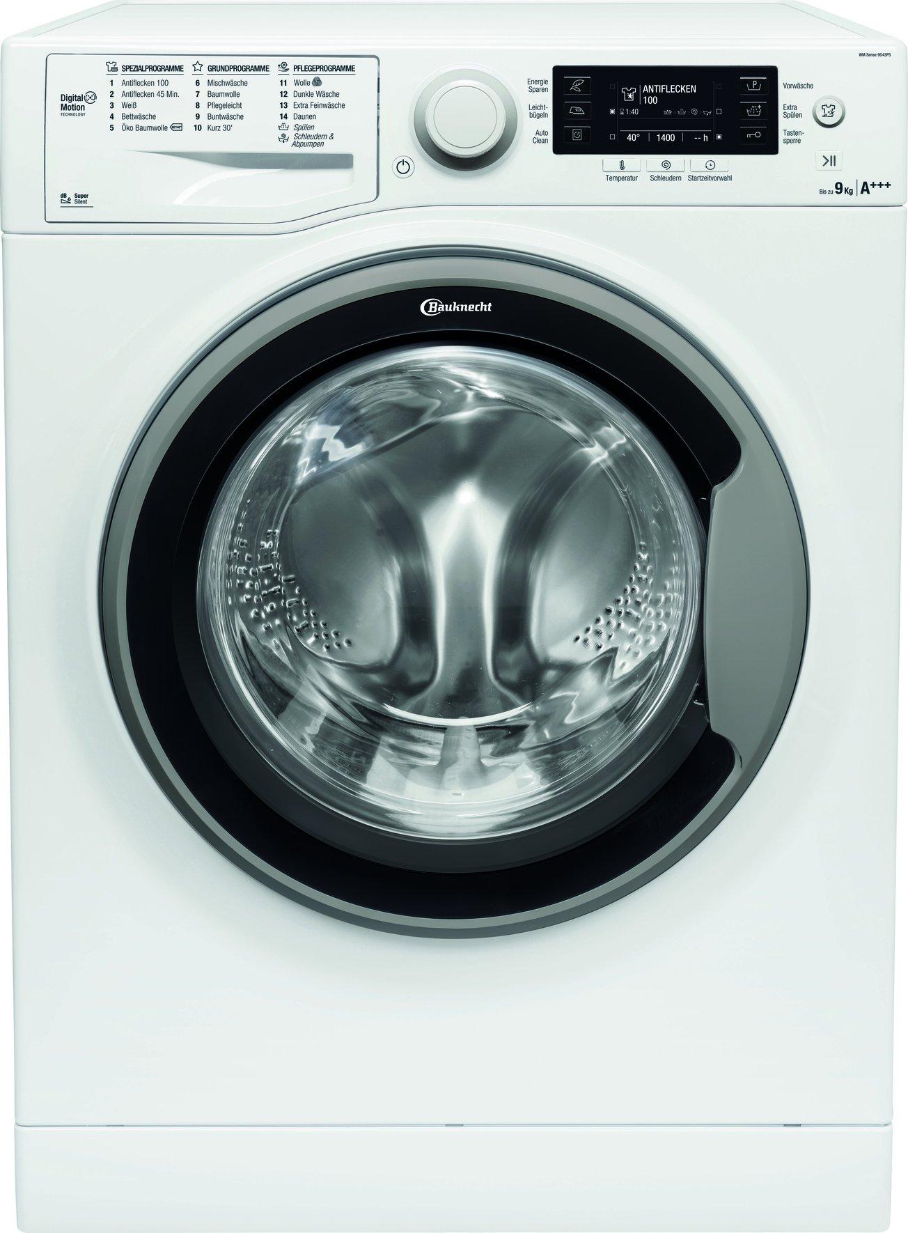 Bauknecht-WM-Sense-9D43PS-Waschmaschine-Frontlader-A-30-1400-UpM-9-kg-Wei-langlebiger-Motor-Nachlegefunktion-Wasserschutz