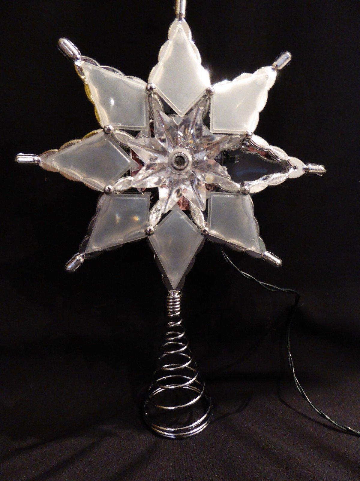 Weihnachtsschmuck-27-cm-gro-batteriebetrieben-LED-beleuchtet-Flower-Star-Innen-Christbaumspitze