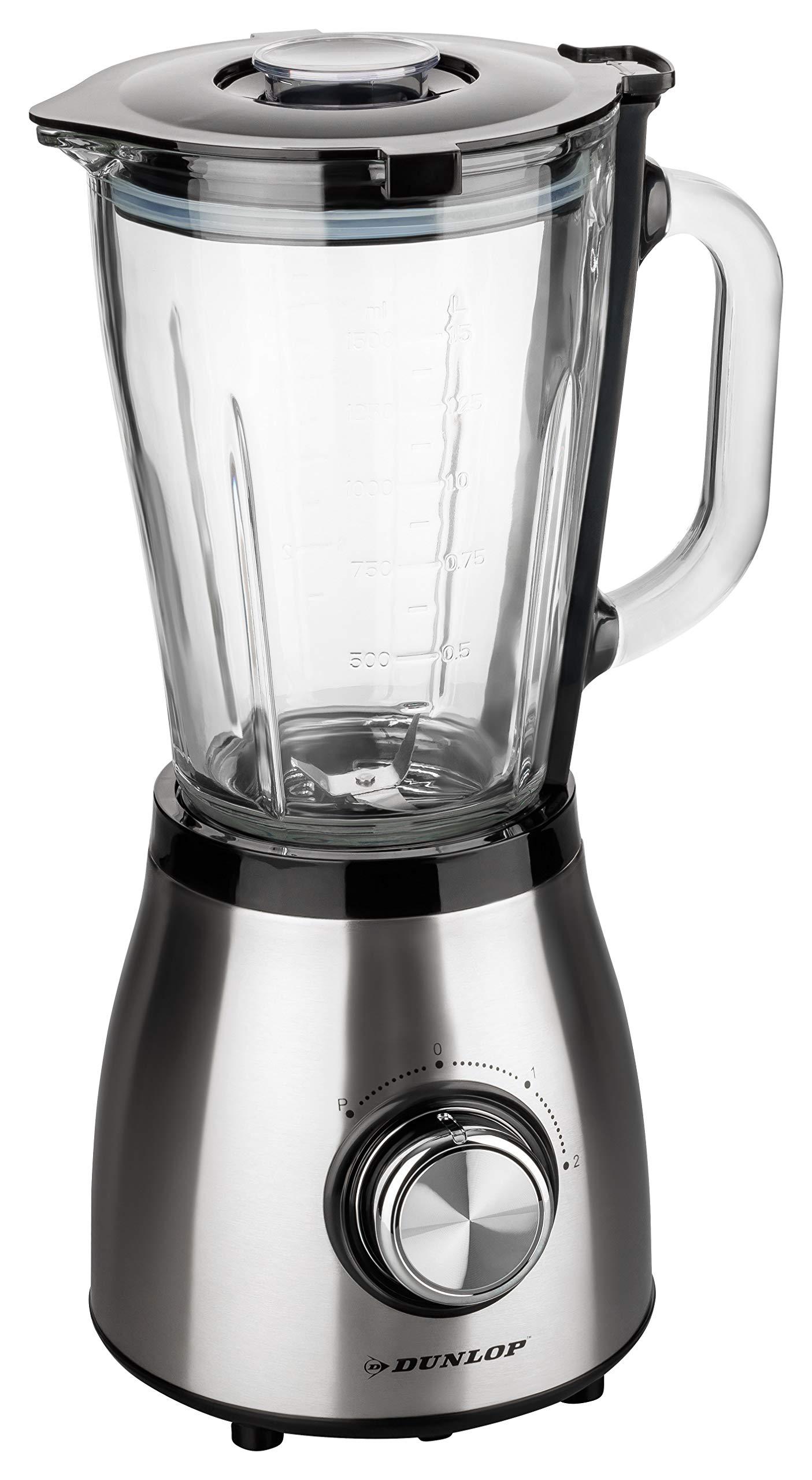 DUNLOP-Standmixer-Edelstahl-500-Watt-15L-Glasbehlter-Smoothie-Maker-2-Geschwindigkeiten-07PS-doppelte-Sicherheitsverriegelung-Easy-Clean