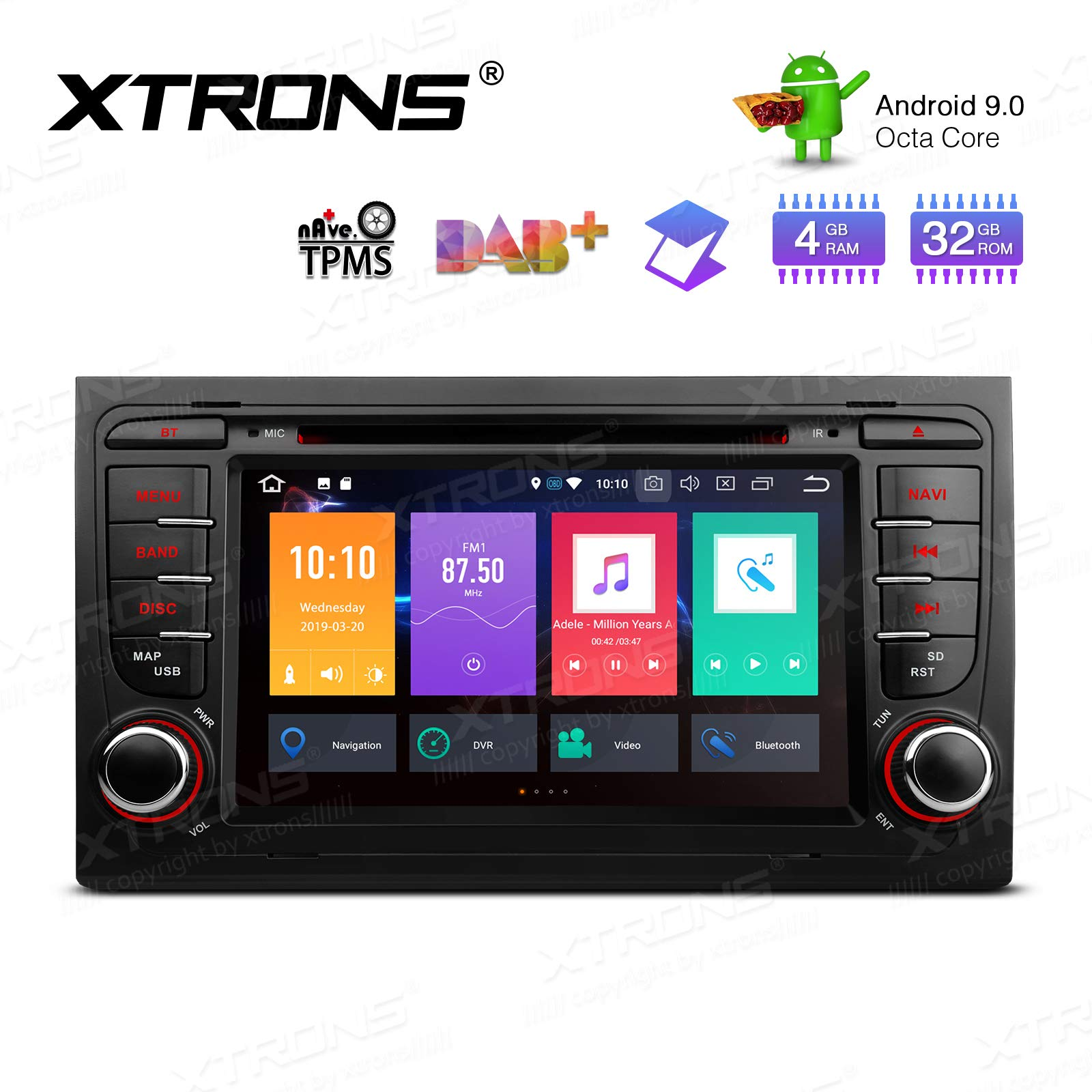 XTRONS-7-Android-Autoradio-mit-Touch-Screen-Android-90-Octa-Core-DVD-Player-untersttzt-4G-WiFi-Bluetooth-4GB-RAM-32GB-ROM-DAB-OBD2-CAR-Auto-Play-TPMS-Musik-Streaming-FR-Audi