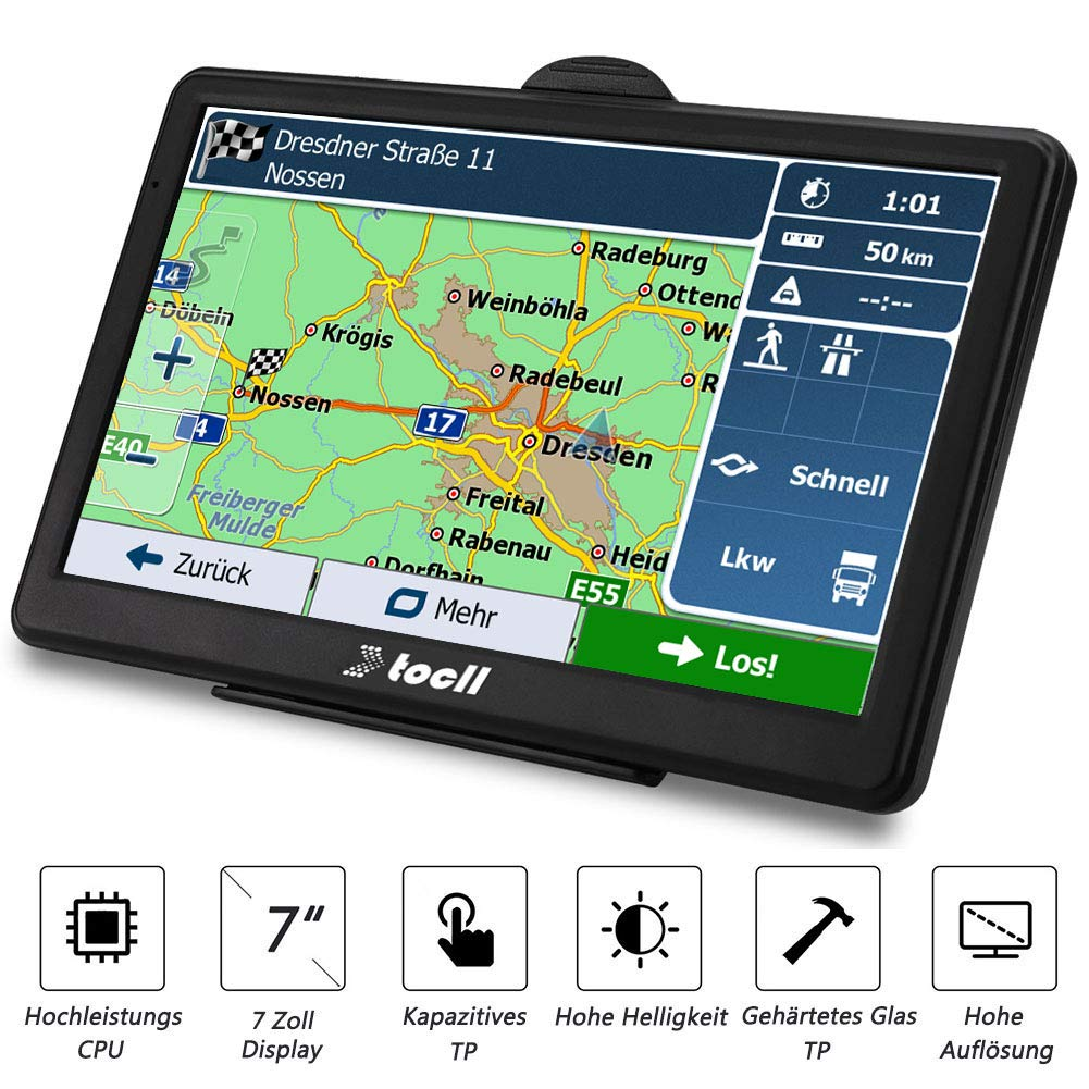 TOCLL-Navigation-fr-Auto-7-Zoll-Navi-LKW-Navigationsgert-mit-Blitzerwarnung-Sprachfhrung-Fahrspurassistent-tragen-2019-Deutschland-usw-52-EU-Karten-und-Lebenslang-Kostenloses-Kartenupdate