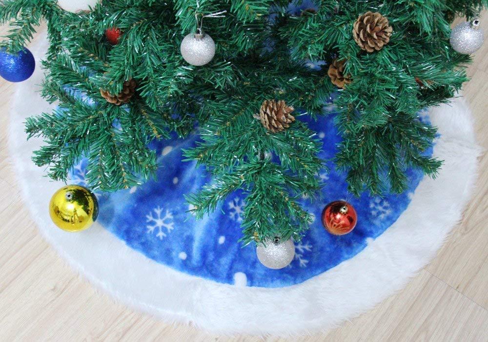 GREENSTORE-122-cm-Weihnachtsbaum-Rock-Plsch-Kunstfell-Weihnachtsbaum-Rock-Geschenkmatte-fr-den-Urlaub-Party-Weihnachten-Dekoration-Schneeflocke