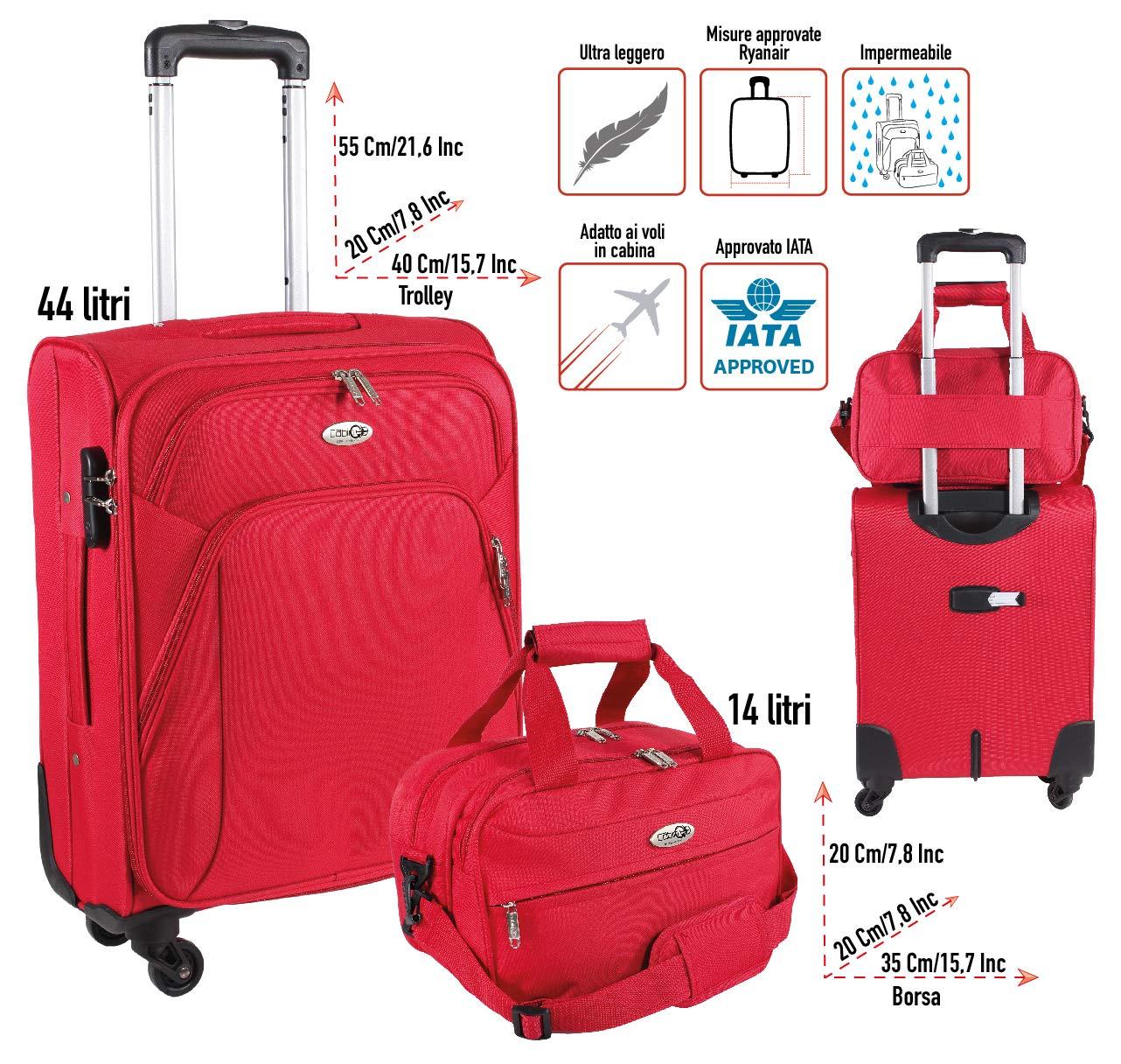 CABIN-GO-Max-5550-Trolley-mit-Handgepck-Kleine-Duffle-Kabinengre-Weicher-Trolley-mit-Schwenkrdern-und-gebrauchtem-Gepck-Geeignet-fr-Ryanair-Alitalia-EasyJet-Flights-55x40x20-cm