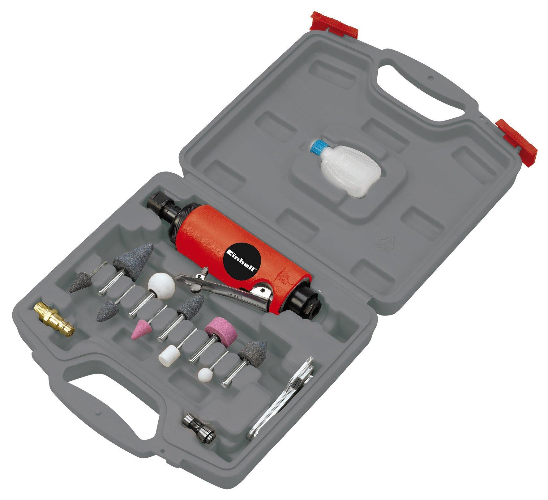 Einhell-Druckluft-Stabschleifer-Set-DSL-2502-passend-fr-Kompressoren-63-bar-Luftverbrauch-ca-128-lmin-inkl-Zubehr-im-Koffer-lflasche-ohne-Inhalt
