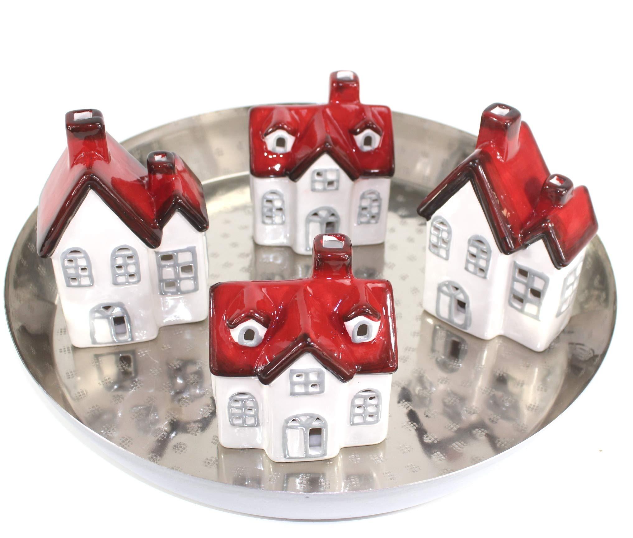 qm-Adventsgesteck-Adventskranz-Tischdeko-Tablett-Silber-Metall-LED-Huser-vds890