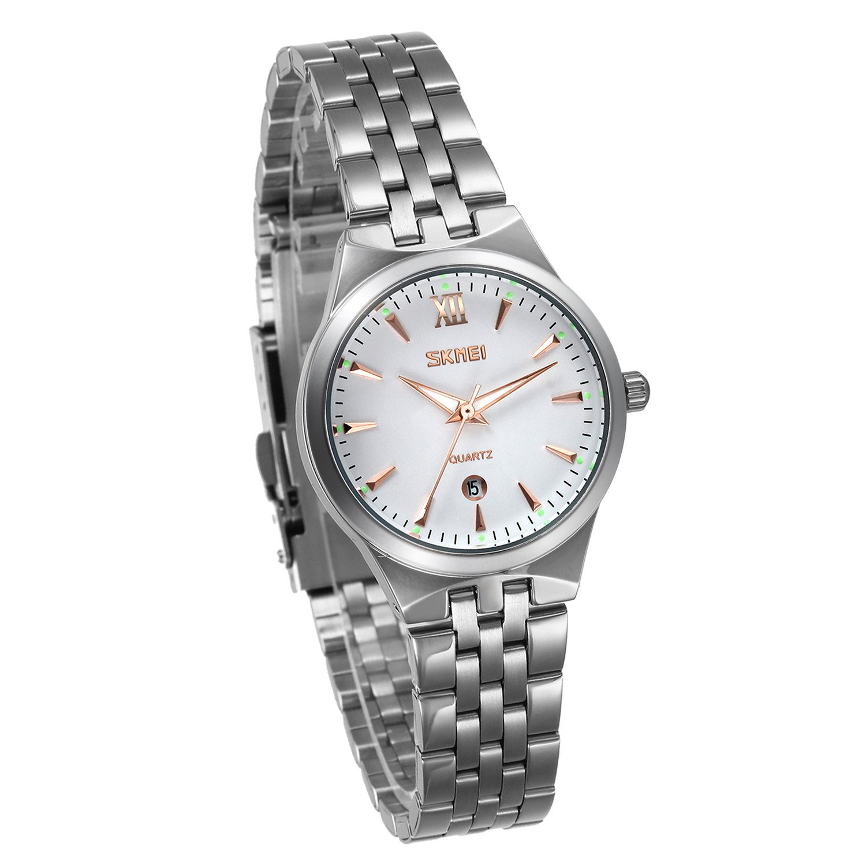JewelryWe-Paar-Armbanduhr-Elegant-Kalender-Business-Casual-Analog-Quarz-Uhr-Silber-Edelstahl-Band-Quarzuhren-mit-Gold-Zeiger-fr-Damen-Frauen