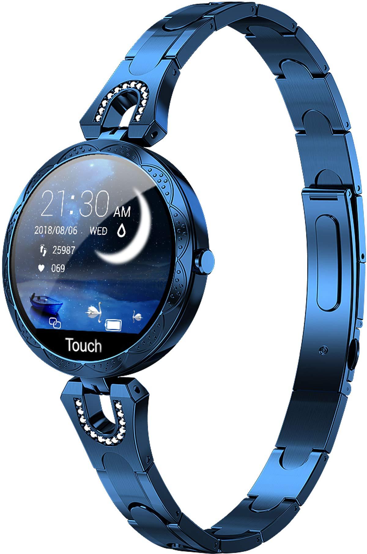 Rosegold-Damen-Smartwatch-Herzfrequenz-Blutdruck-Schrittzhler-Kalorienverbrauch-Diamant-Schmuck-Stylische-Armbanduhr-Design-Elegant