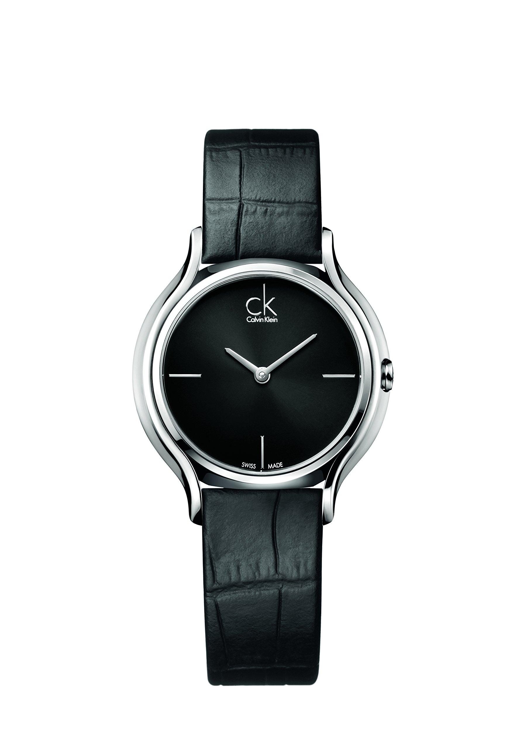 Calvin-Klein-Damen-Analog-Quarz-Uhr-mit-Leder-Armband-K2U231C1