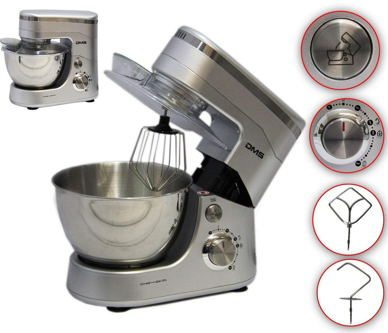 Kchenmaschine-Rhrmaschine-Knetmaschine-Teigkneter-Silber-5L-1400-W-max-DMS