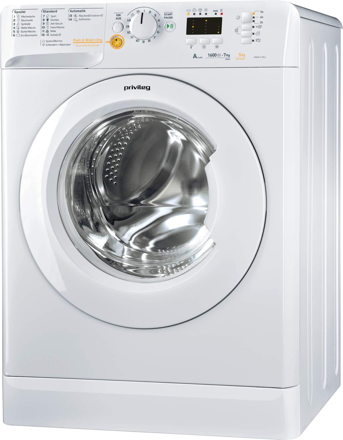Privileg-PWWT-X-75L6-DE-WaschtrocknerEEK-A-7-kg-Waschen-5-kg-Trocknen-1600-UpMMengenautomatikWasserschutzOption-Extra-SplenStartzeitvorwahlWolle-ProgrammInverter-MotorPush-Wash-Dry