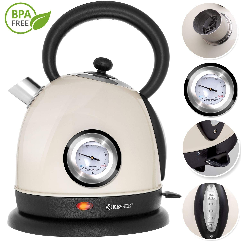 KESSER-Wasserkocher-Edelstahl-2200W-BPA-frei-18-Liter-Retro-Design-berhitzungsschutz-Teekocher-Teekessel-Kocher-Cool-Touch-Griff-kabellos-Temperaturanzeige