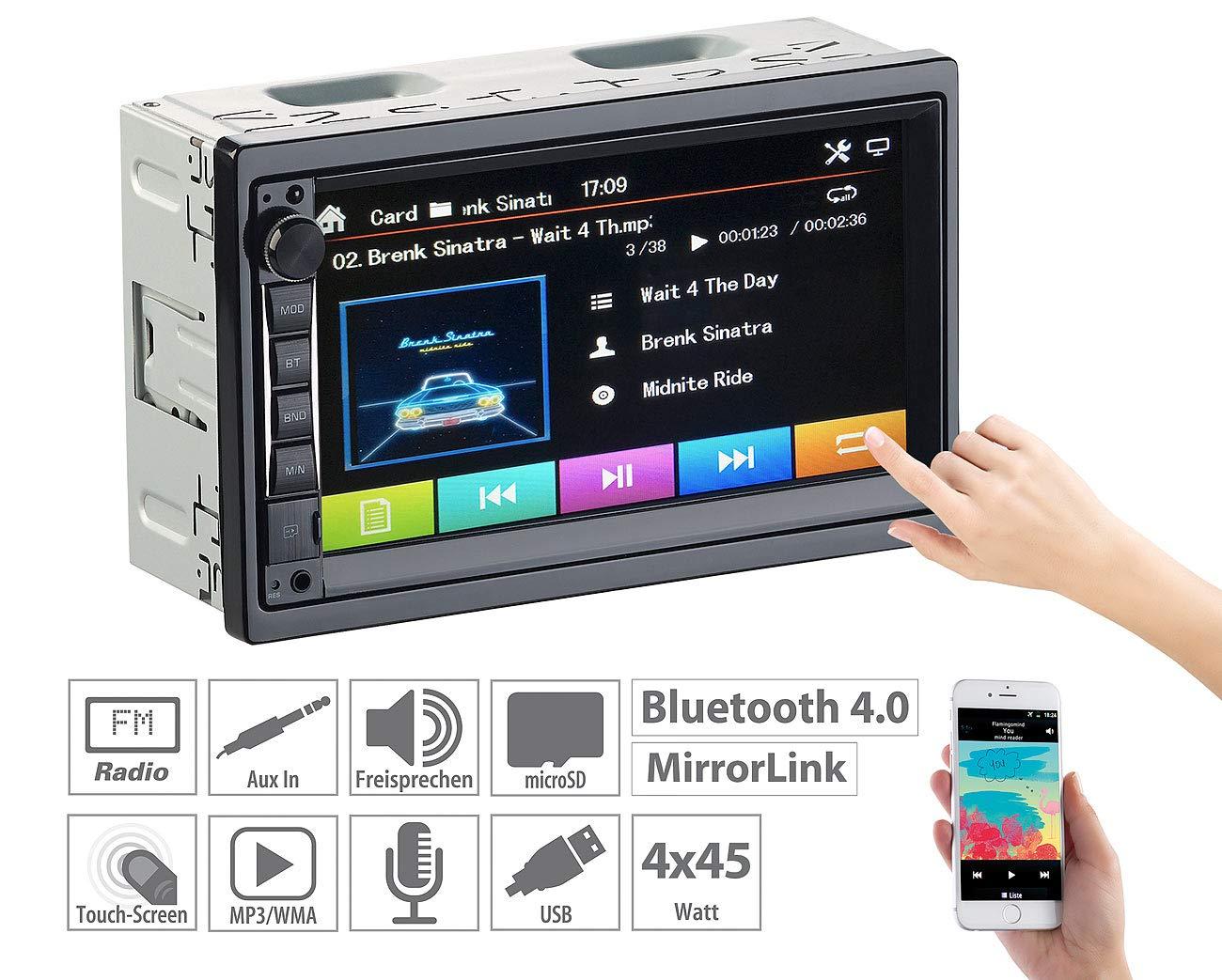 Creasono-DIN2-Radio-2-DIN-MP3-Autoradio-mit-Touchdisplay-Bluetooth-Freisprecher-4X-45-W-Radio-2-DIN