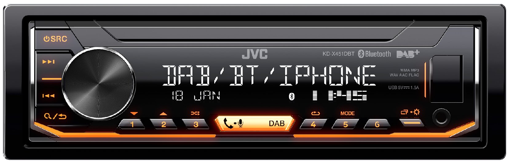 JVC-KD-X451DBT-Digital-Media-Receiver-mit-Bluetooth-Freisprechfunktion-und-Digitalradio-DAB-schwarz