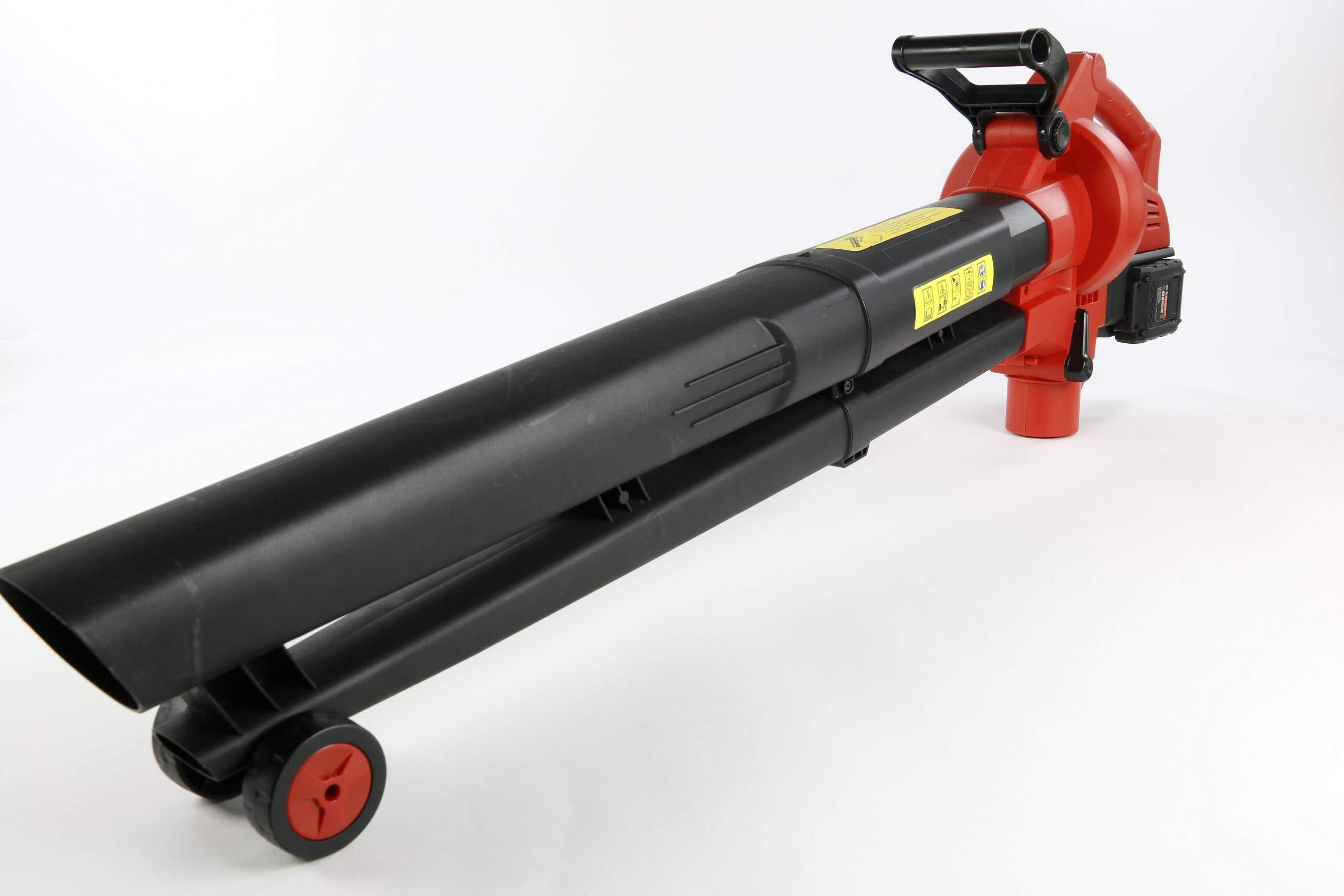 Matrix-511010595-CLB-2x20V-X-ONE-Laubsauger-inklusive-2-20-V-Akkus-6000-12000-Umin-mit-Hcksler-Elektronische-Drehzahlregelung-230-KMH-Luftgeschwindigkeit-45L-Fangsack-Rot-Schwarz