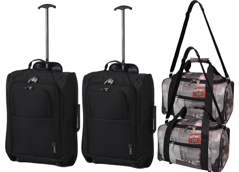 Satz-von-4-2X-Ryanair-Handgepck-2xTrolley-Kofferset-Nehmen-Sie-beide-mit