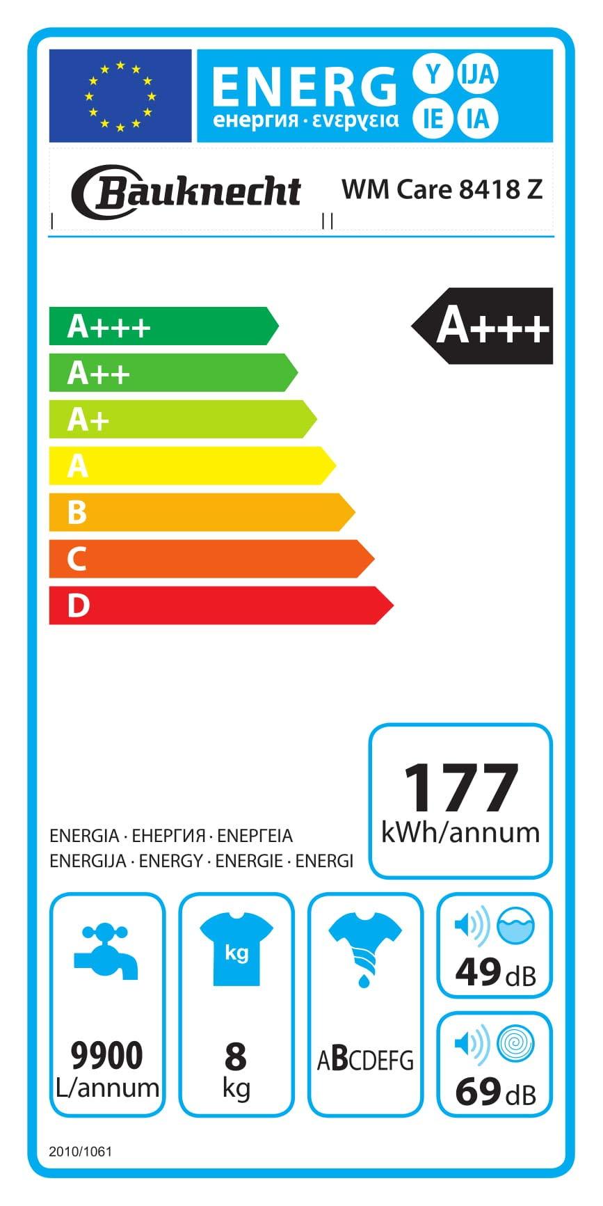 Bauknecht-WM-Care-8418-Z-Waschmaschine-FrontladerA-101400-UpM177kWhJahr8-kgZEN-TechnologieMengenautomatikElektronischer-VollwasserschutzDosieranzeige
