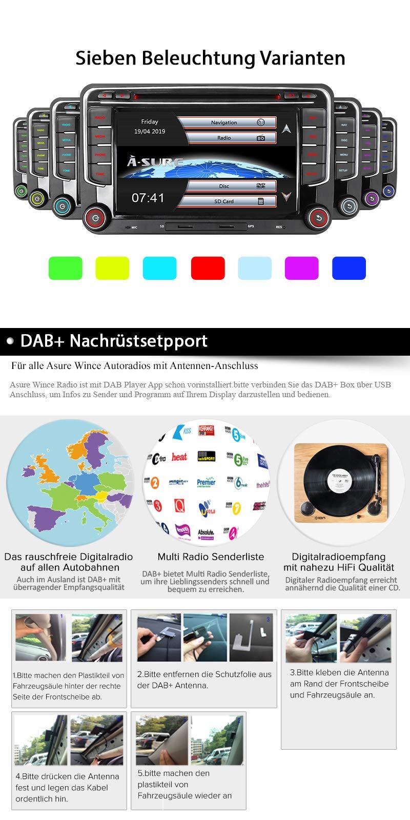16GB-SD-Karte-7-AUTORADIO-DVD-GPS-Fr-VW-Golf-56PassatTiguanPoloJettaSkoda-Fabia-OctaviaYeti-Seat-LeonTouranCandy-SharanEOS-DAB-VMCD-Mirrorlink-GPS-Navigation-USB-SD-BT-7-LED
