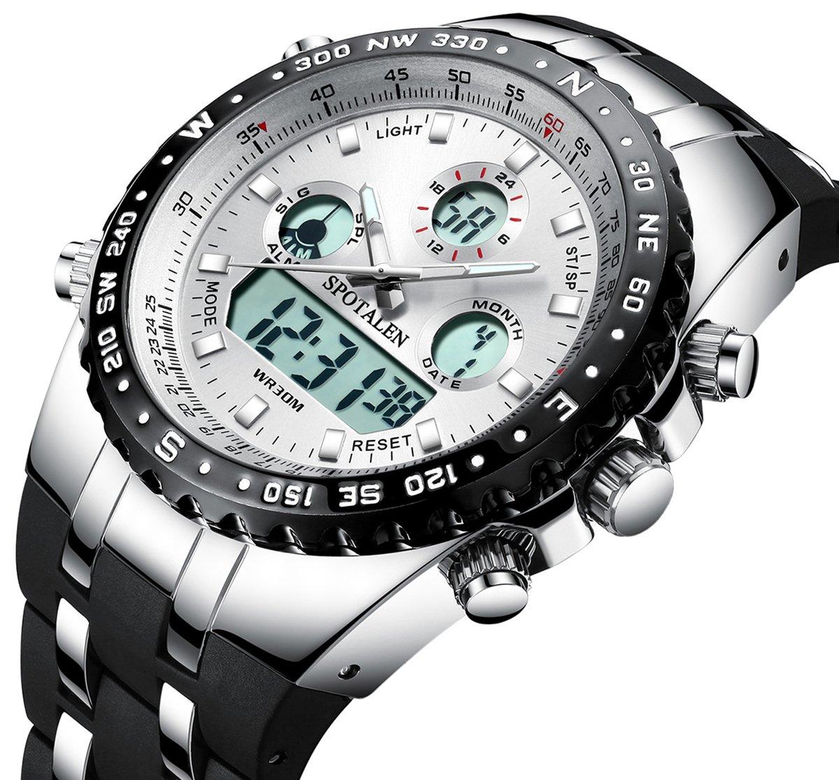 Herren-Sportuhren-Big-Face-Outdoor-Military-Digital-Armbanduhr-Wasserdicht-Hintergrundbeleuchtung-Chronograph-Uhren-fr-Mnner-Wei