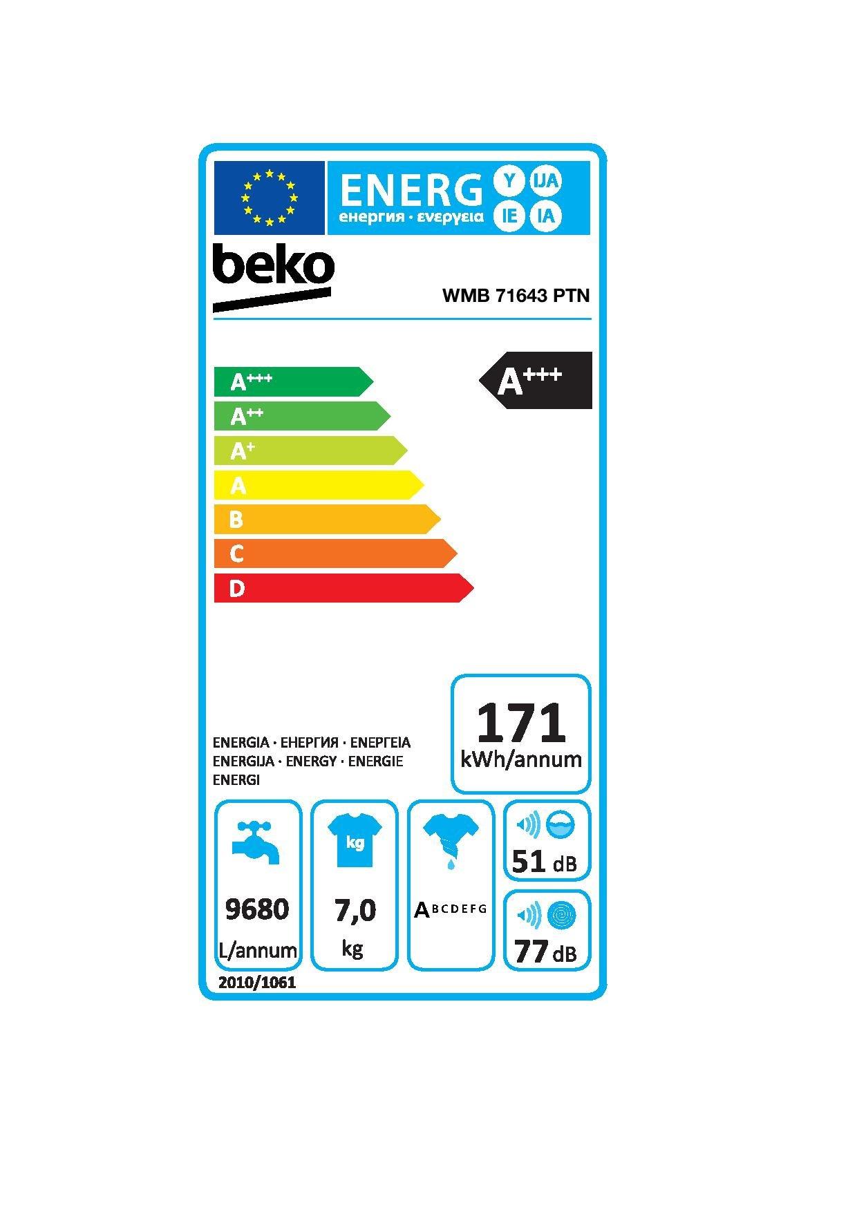 Beko-WMB-71643-PTN-Waschmaschine-Frontlader-A-1600pM-7kg-wei-Super-Express-14-Mengenautomatik-Watersafe-ProSmart-Inverter-Motor-Pet-Hair-Removal