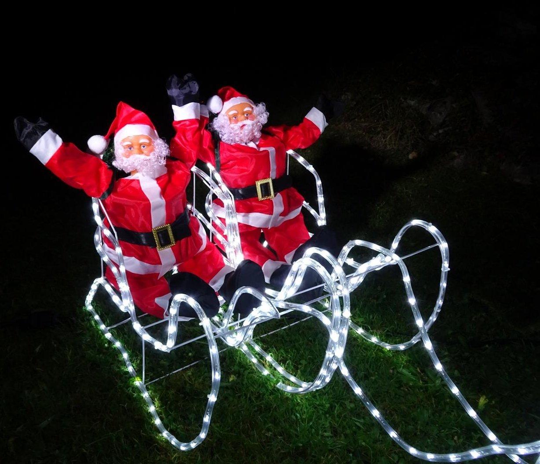 XXL-672-LED-Magic-DOPPEL-RentierSchlittenWEIHNACHTSMANN8-Programme-Flash-bis-Standlicht-ca-2-Meter-Premium-Set2-Rentiere2-Schlitten2-Weihnachtsmnner-kaltweissIP44NEUHEIT-2019