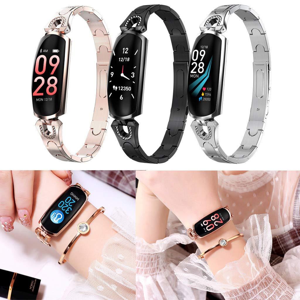 Smart-Watch-mit-Milanese-Edelstahlarmband-fr-AK16-Frauen-Armband-Pulsmesser-Blutdruck-Fitness-Sweat-und-Wasserdicht-Kompatibel-Smartwatch-Smartphone-Bluetooth-fr-Damen