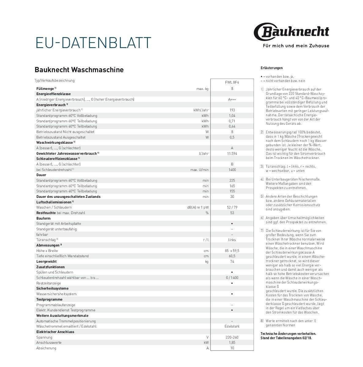 Bauknecht-FWL-8F4-Waschmaschine-Frontlader-A-1400-UpM-8-kg-Wei-langlebiger-Motor-Nachlegefunktion-Wasserschutz
