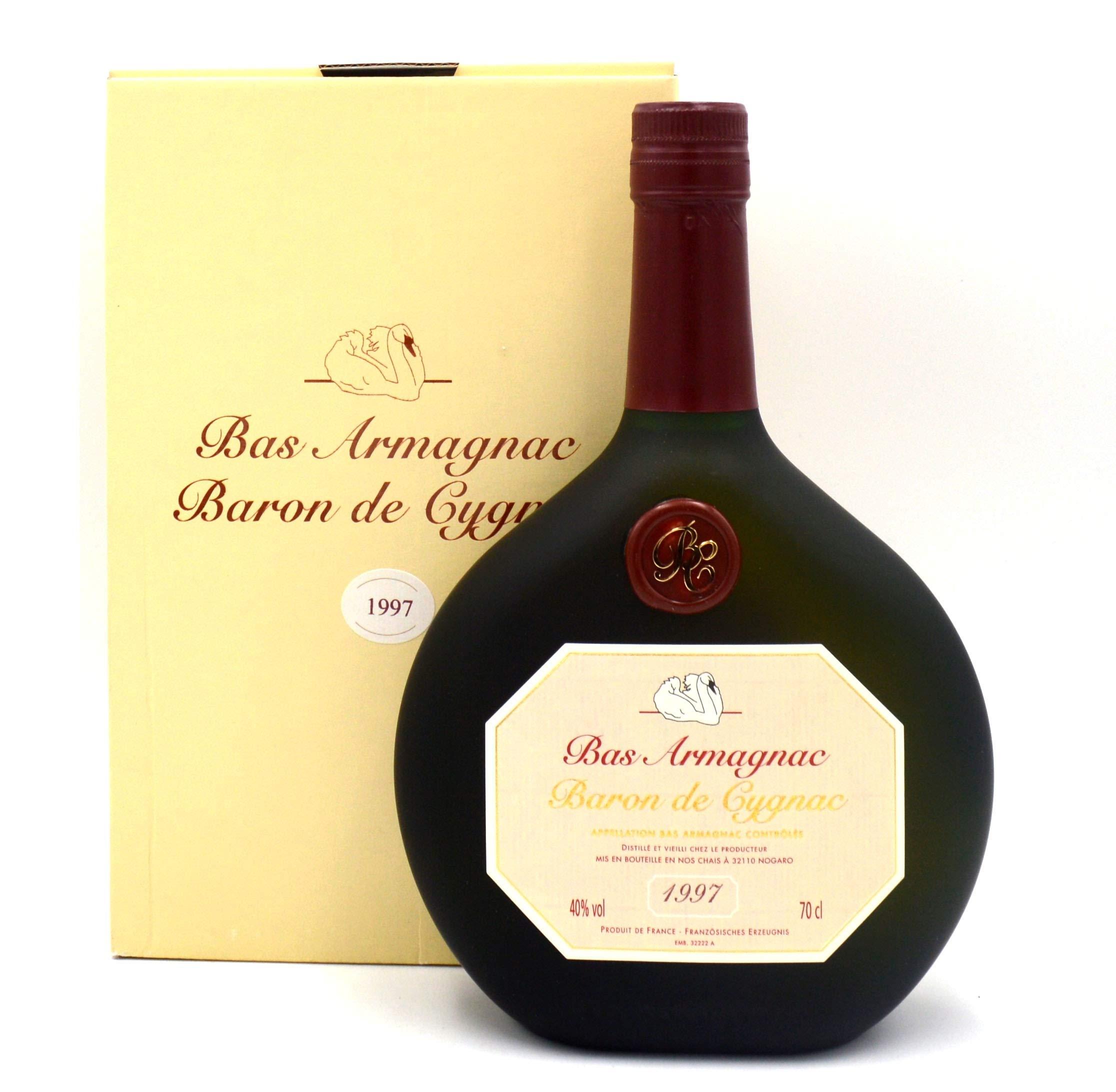 Raritt-Armagnac-Baron-de-Cygnac-07l-Jahrgang-1997-inkl-Geschenkkarton
