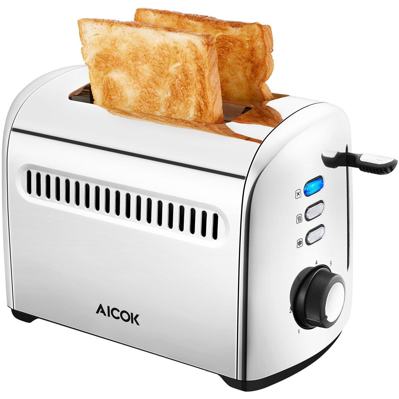 Aicok-Edelstahl-Toaster-Frhstck-Sandwichtoaster-mit-7-Brunungsstufen-herausnehmbarer-Krmelschublade-950W-Silber