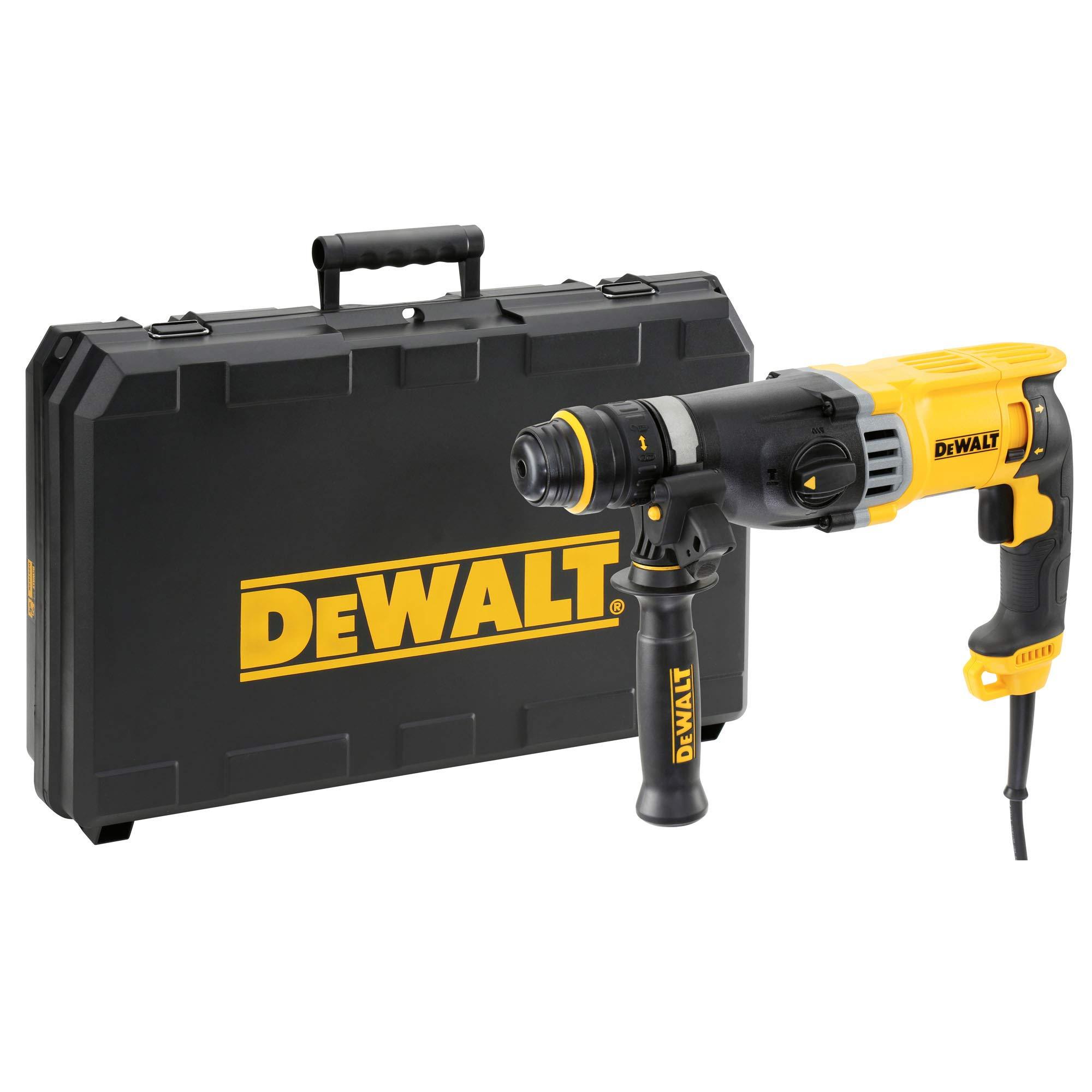 DeWalt-SDS-plus-Kombibohrhammer-Schlagbohrmaschine-900-Watt-max-Bohrleistung-Beton-26-mm-Schnellwechsel-Bohrfutter-Drehstopp-fr-Meielarbeiten-Sicherheitskupplung-D25144K