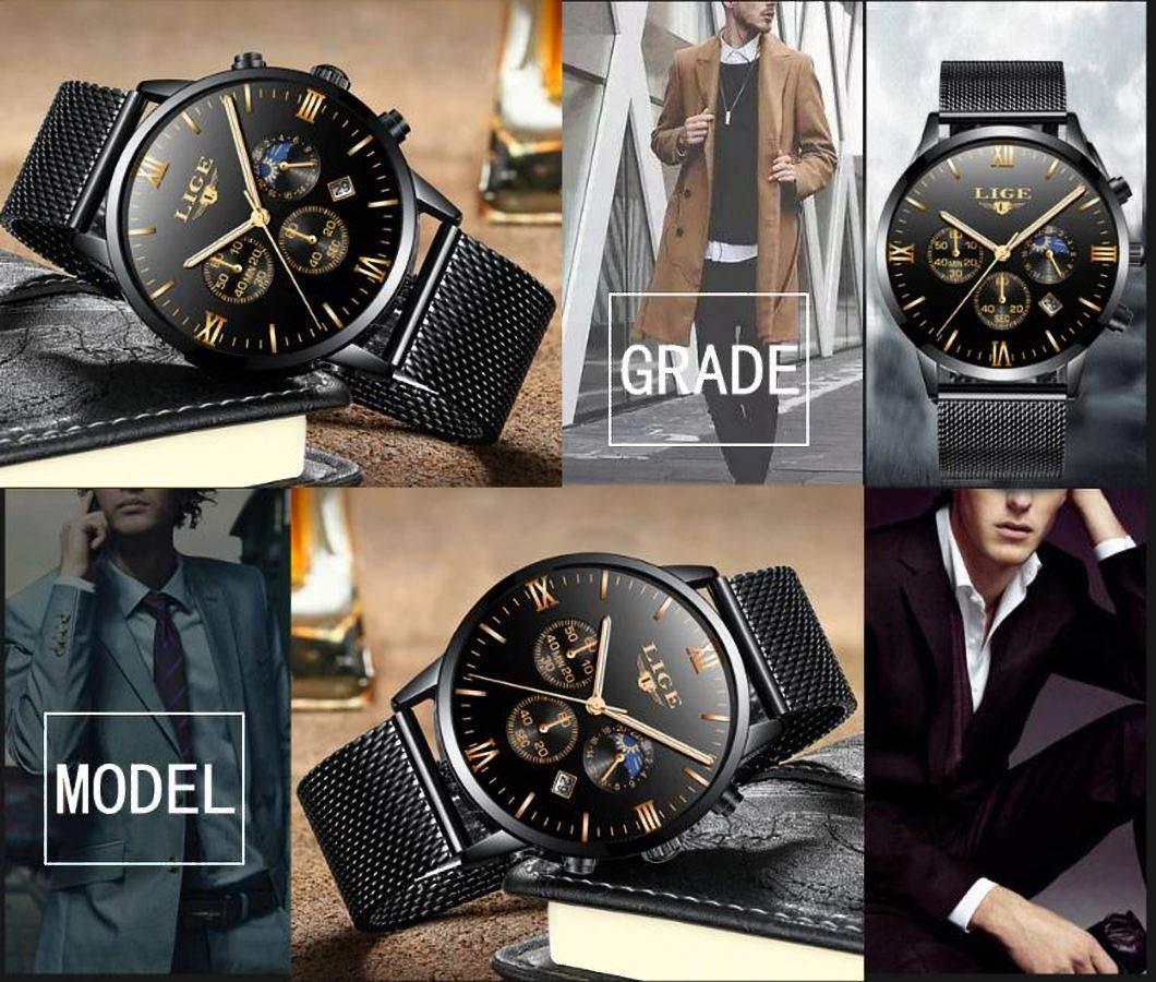 LIGE-Herren-Uhr-Analog-Quarz-mit-MeshMilanese-Armband-9831