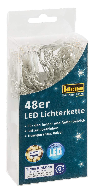 Idena-30437-LED-Lichterkette-mit-48-LED-in-warm-wei-mit-6-Stunden-Timer-Funktion-Batterie-betrieben-fr-Partys-Weihnachten-Deko-Hochzeit-als-Stimmungslicht-ca-406-m