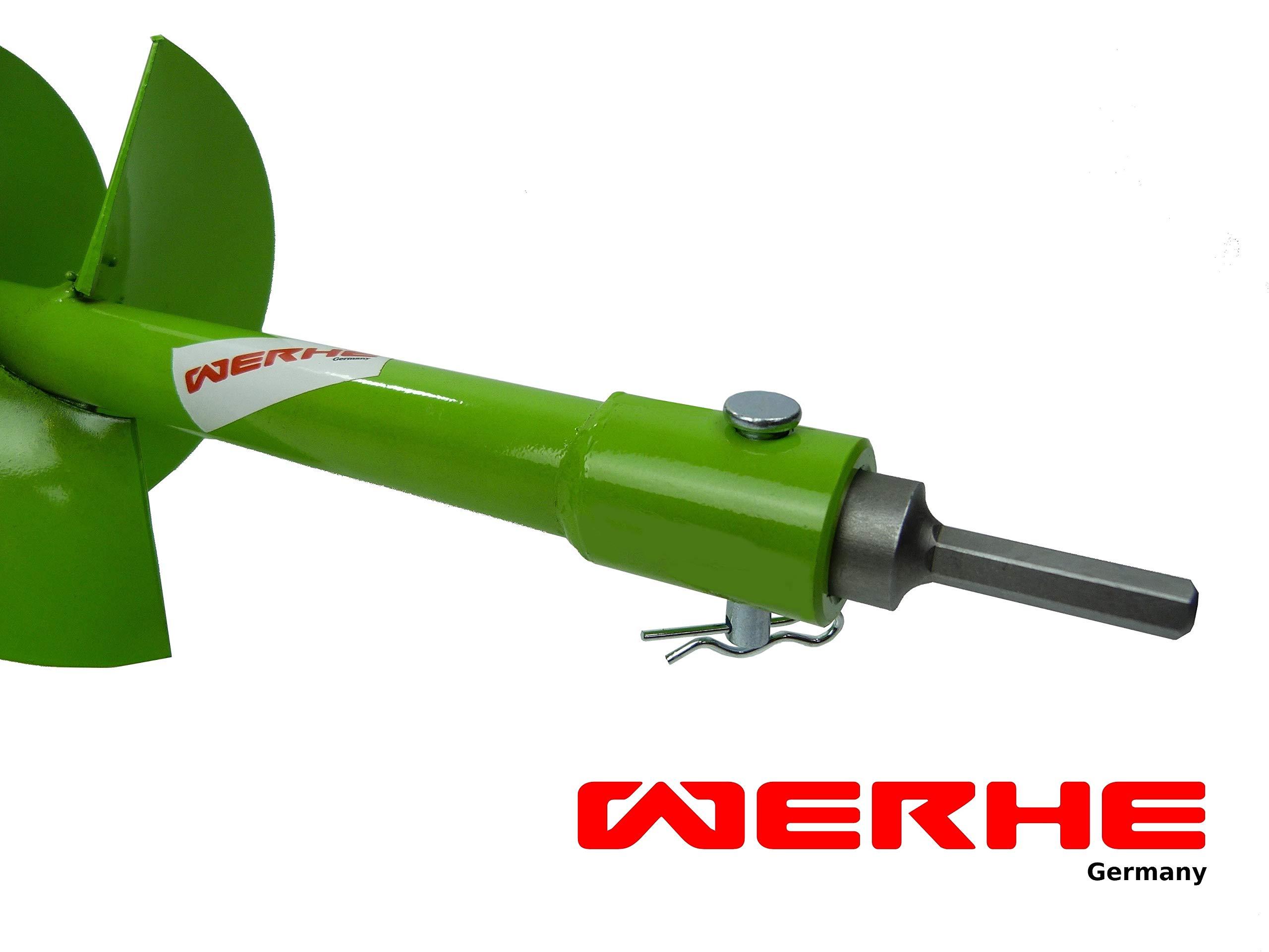 WERHE-Profi-Bohrer-fr-Erdbohrer-300-mm-Pfahlbohrer-Brunnenbohrer-przise-Bohrspitze-Doppelspiral-Hartmetall-eco-Farbe-mit-Hex-Adapter