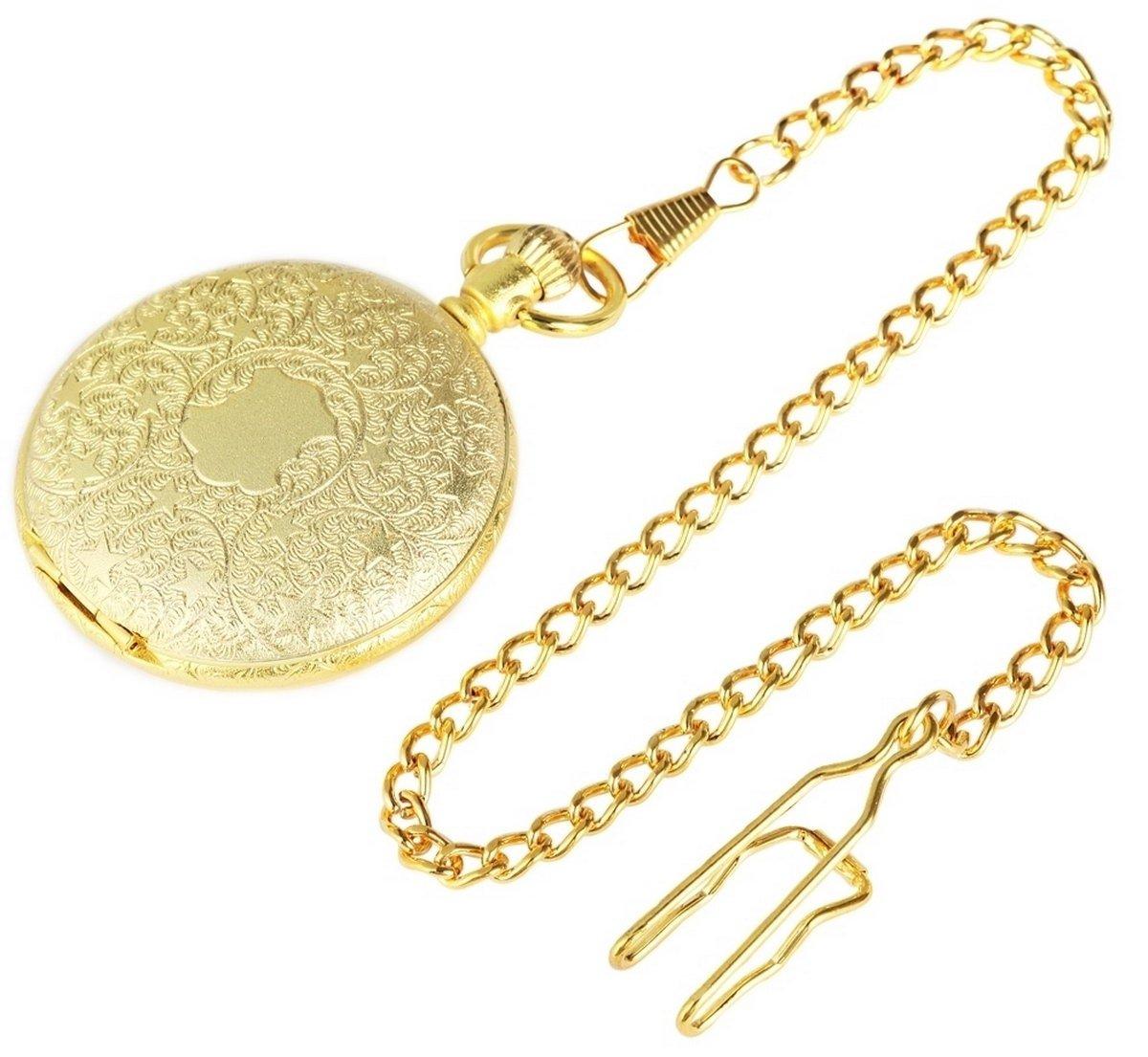Excellanc-Analog-Taschenuhr-mit-Quarzwerk-480302000056-Goldfarbiges-Gehuse-im-Mae-55mm-x-14mm-mit-Ziffernblattfarbe-Gelb-und-Mineralglas