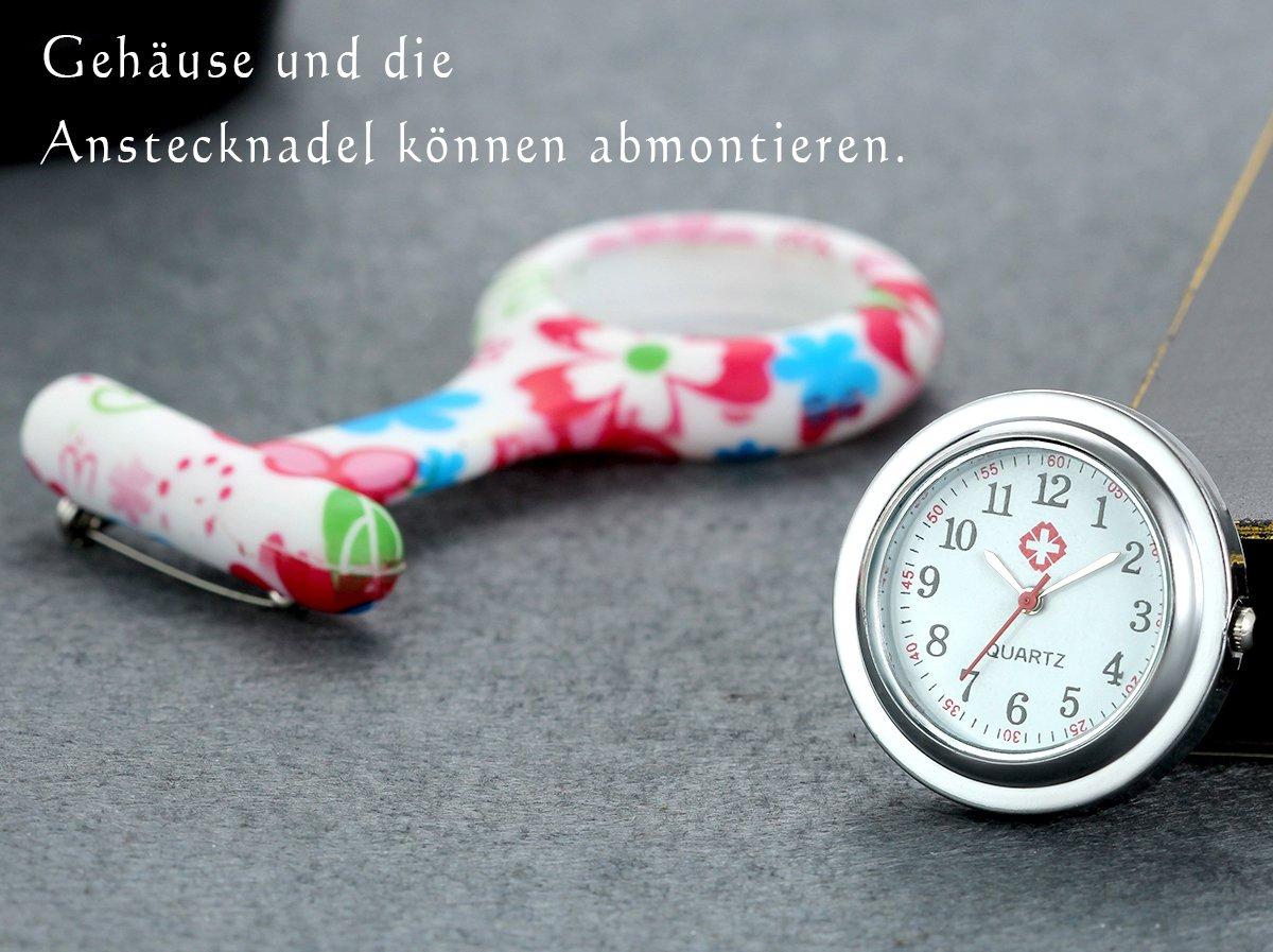 LANCARDO-UhrenKrankenschwester-Armbanduhr-FOB-Uhr-Damen-Taschenuhr-Analog-Quarzuhr-aus-Silikon