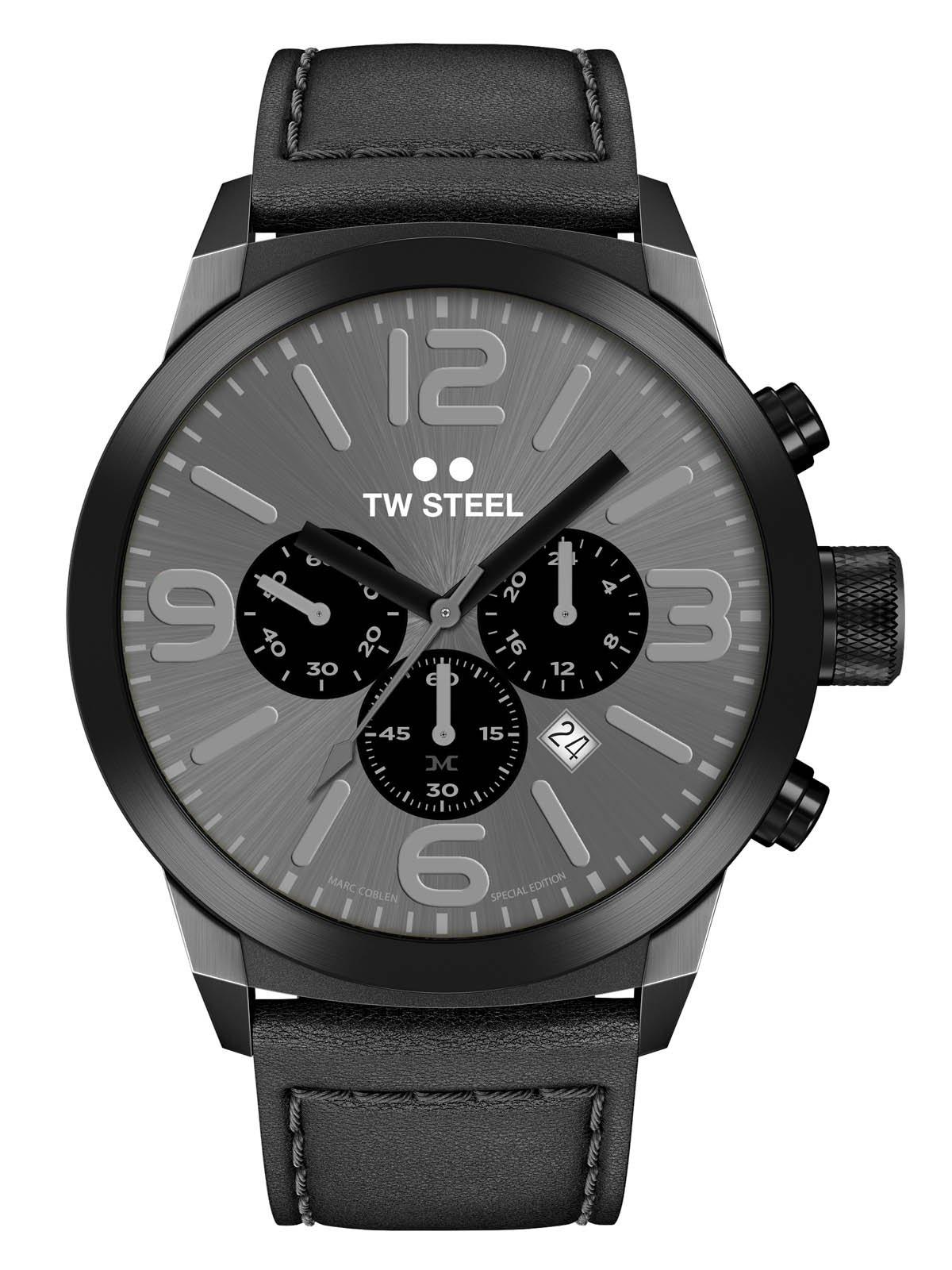 TW-Steel-Marc-Coblen-Edition-Chrono-mit-Lederband-und-Datum-Edelstahl-Stoppuhr-42-MM