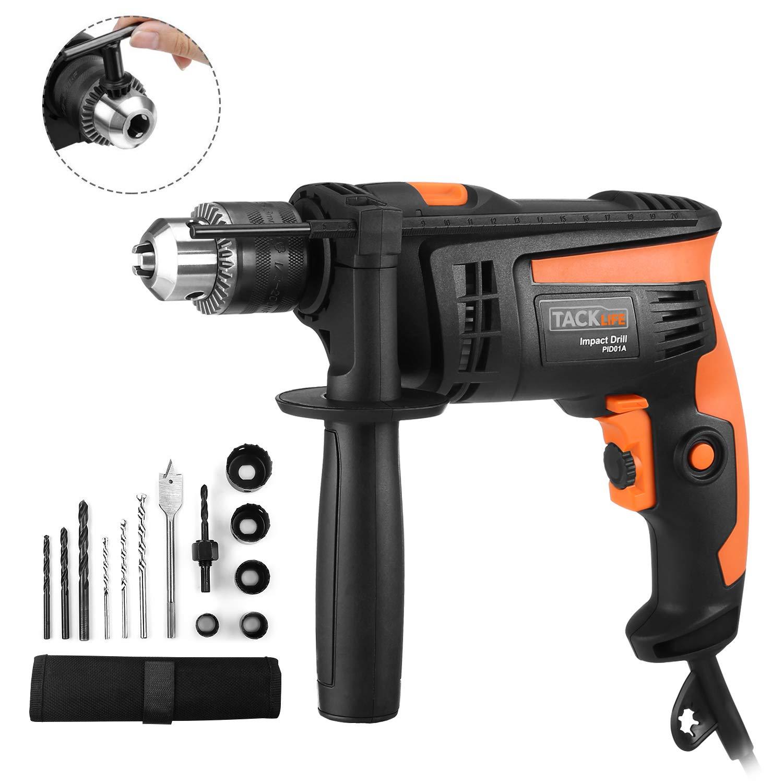 Bohrmaschine-710W-Tacklife-Schlagbohrmaschine-2800-RPM-Hammer-Bohren-2-Funktionen-in-1-13-Stck-Zubehr-Kit-13mm-Keyed-Chuck360-Grad-verstellbarem-Zusatzhandgriff-PID01A