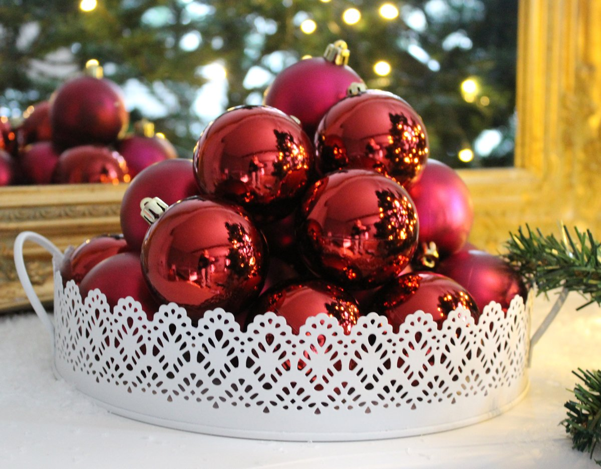 Unbekannt-12er-Set-Christbaumkugeln-Weihnachtsbaumkugeln-ROT-Kugel-bruchfest-Weihnachten-6-cm-