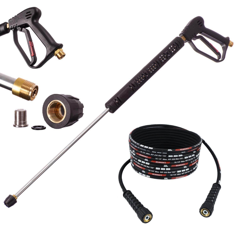 Hochdruck-Pistole-Lanze-15m-Schlauch-Dse-280bar-fr-Hochdruckreiniger-Krcher-Kranzle