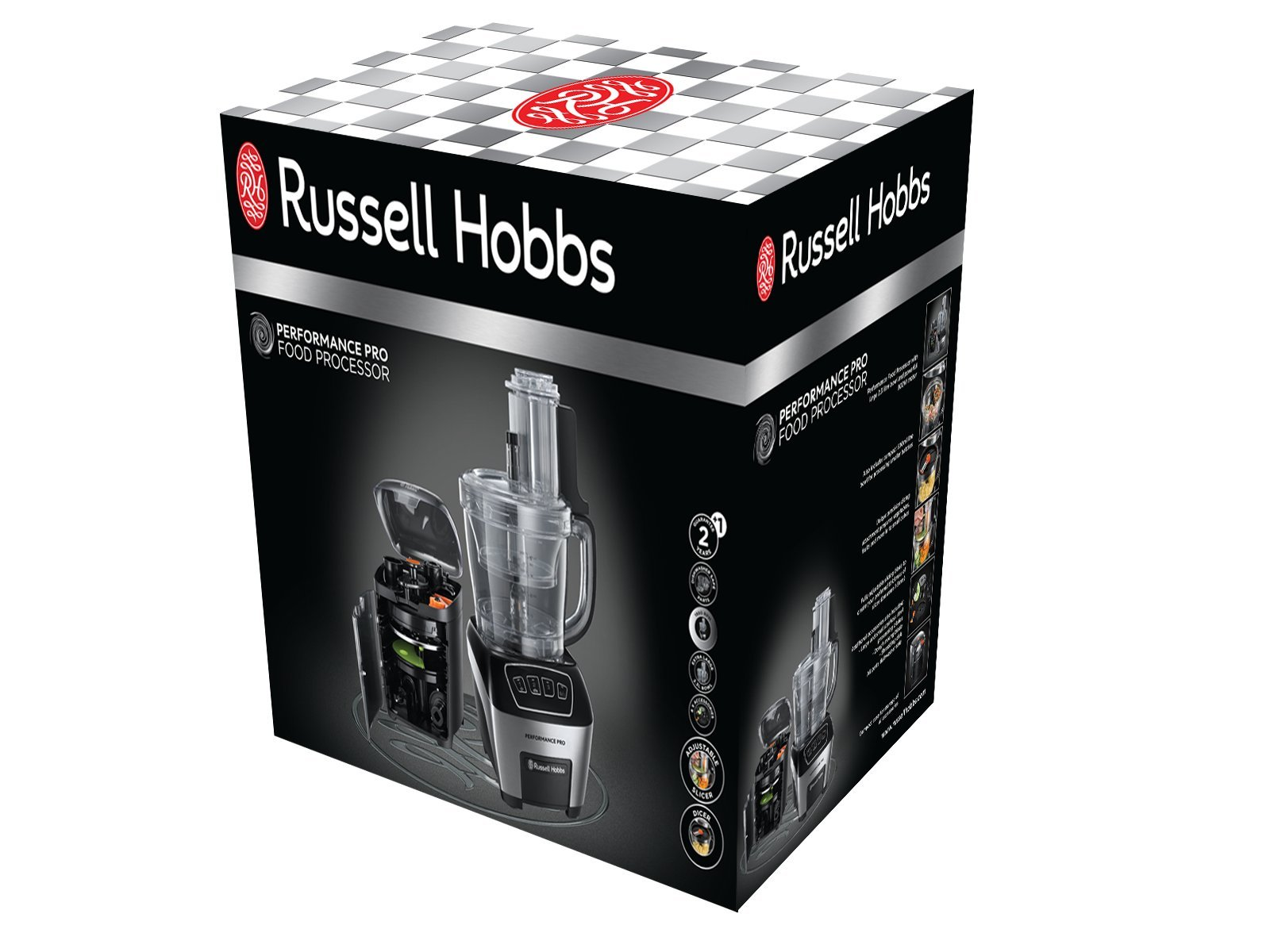 Russell-Hobbs-22270-56-Food-Processor-Performance-Pro-LED-Anzeige-mit-3-Geschwindigkeitsstufen-inkl-Aufbewahrungsbox-800-Watt-Edelstahlschwarz
