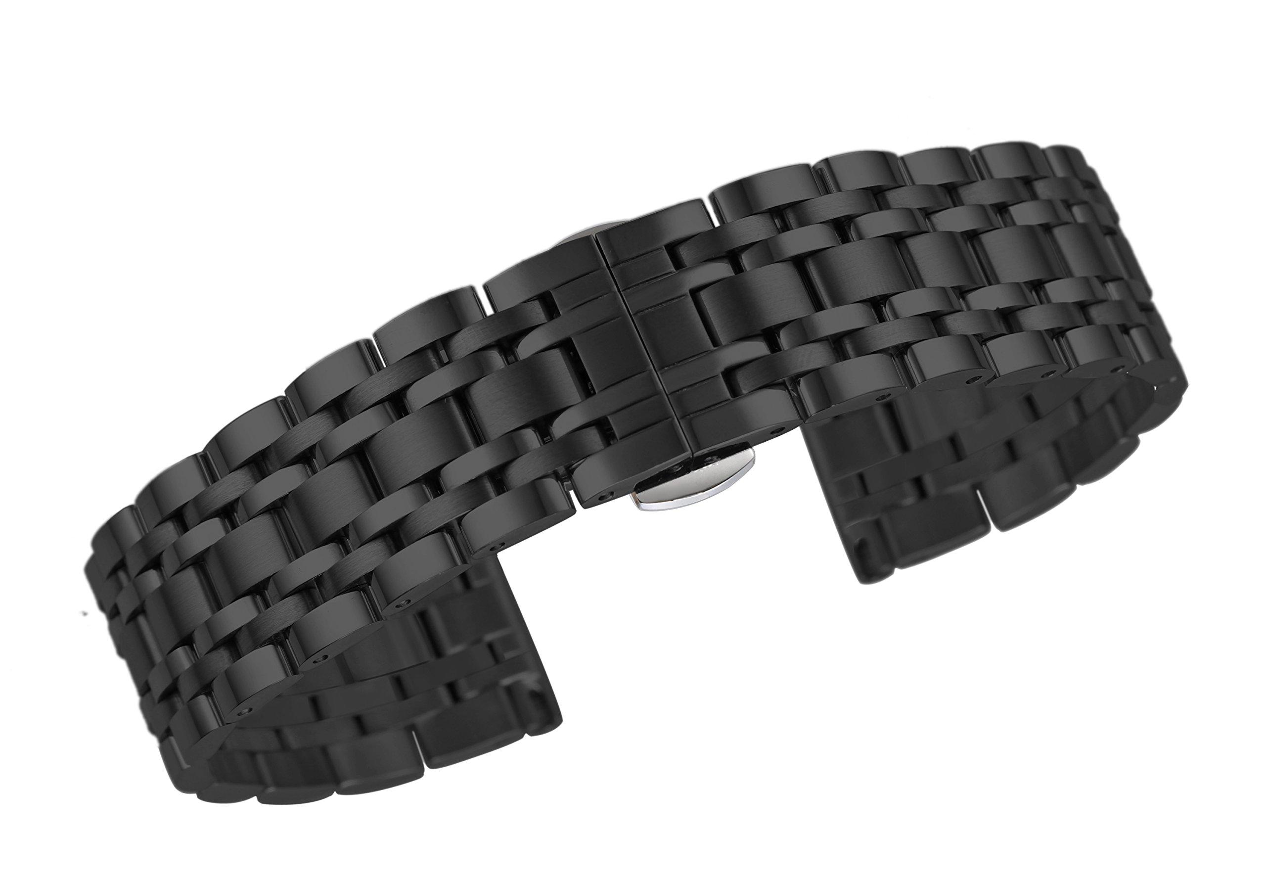 Autulet-12mm-26mm-Damen-Edelstahl-Uhrenarmband-Unisex-Schwarz
