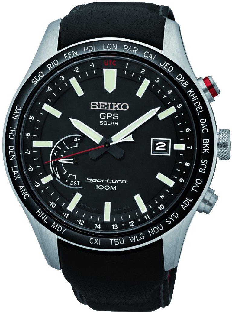 Seiko-Herren-Analog-Solar-Uhr-mit-Leder-Armband-SSF007J1