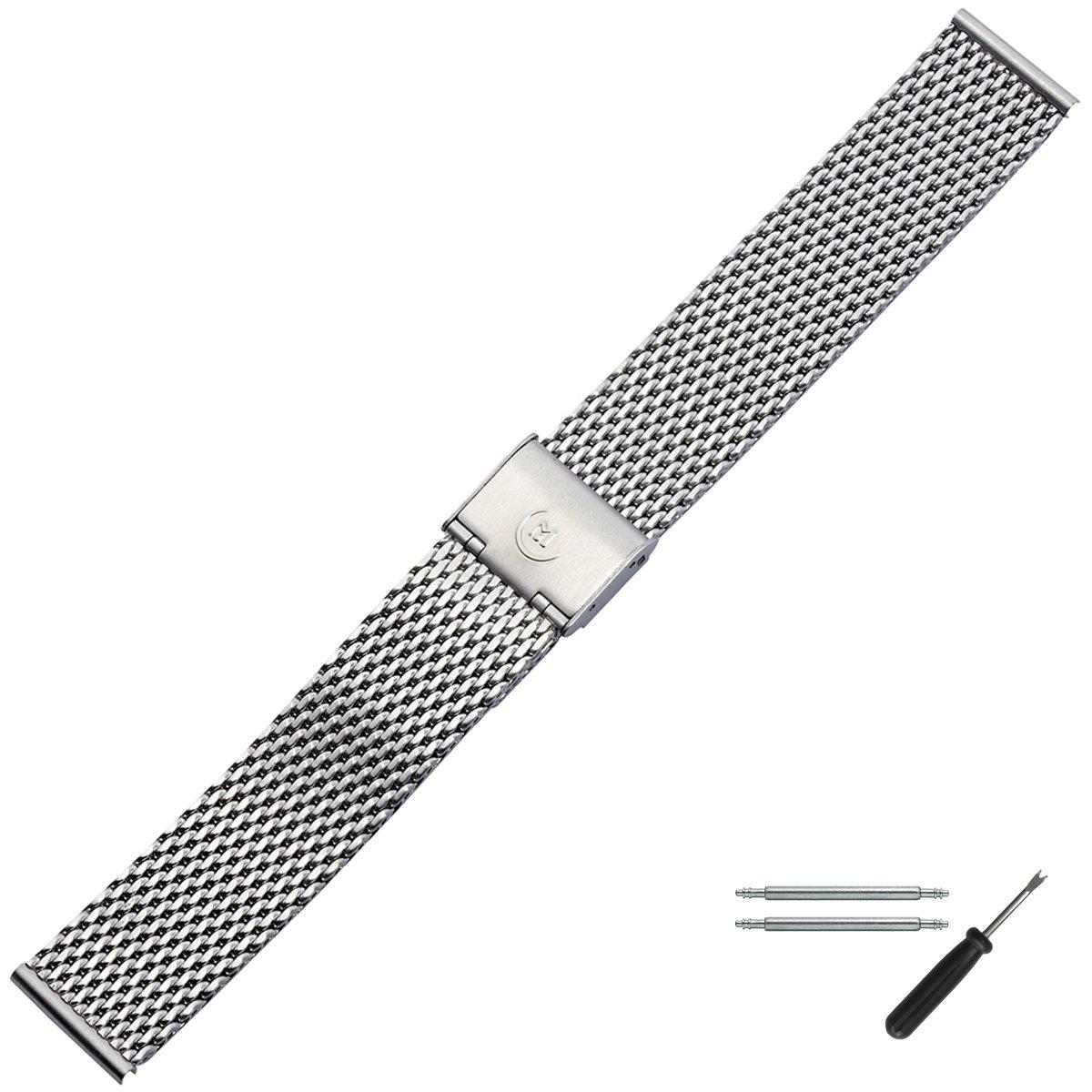 MARBURGER-Uhrenarmband-22mm-Edelstahl-Silber-MeshMilanaise-Uhrband-Set-84907220020