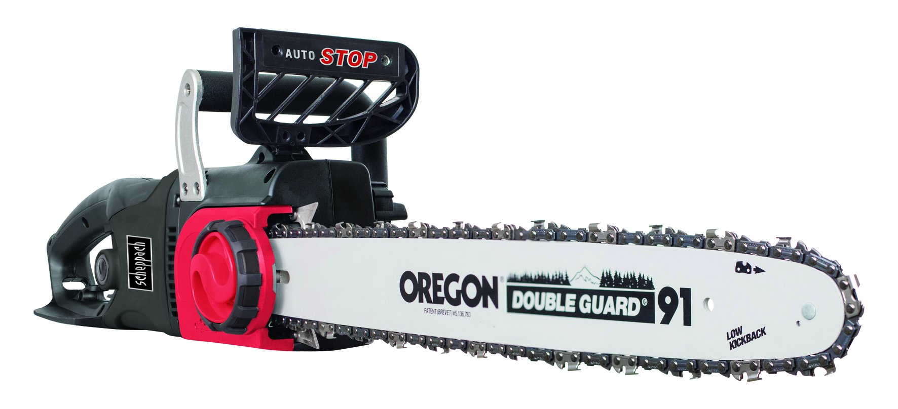 Scheppach-Elektro-Kettensge-CSE2500-2400-Watt-Schnittlnge-460-mm-Oregon-Kette-und-Qualittsschwert-Kettengeschwindigkeit-13msec-inkl-LED-Licht-und-Zugentlastung-fr-Verlngerungskabel
