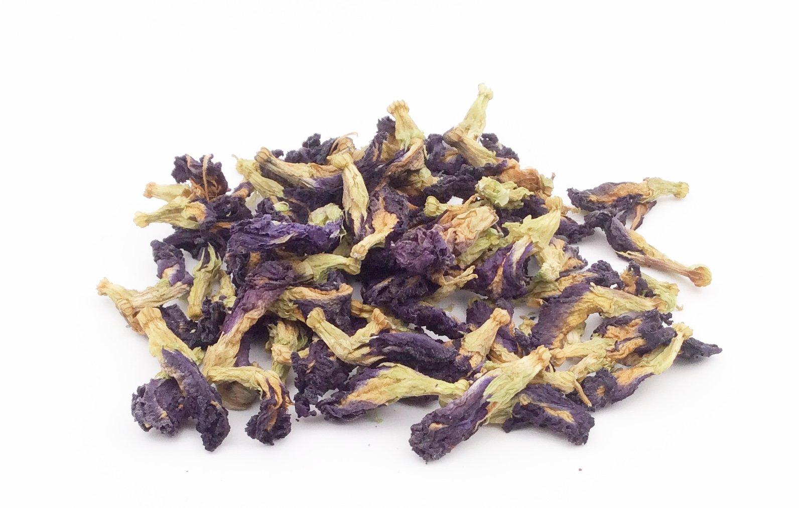 Blau-Tee-Anchan-Gropackung-Ganze-Blten-der-Schmetterlings-Erbse-Butterfly-pea-Schamblume-handverlesen-im-thailndischen-Bergland-100g