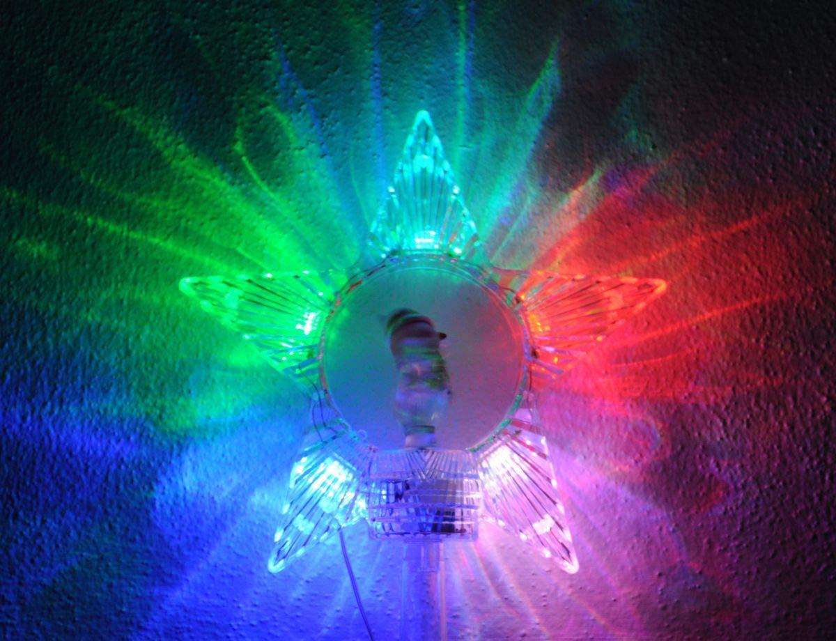 Kaemingk-Christbaumspitze-Stern-Spitze-mit-drehbarem-Schneemann-farbwechselnden-LEDs-und-Timer