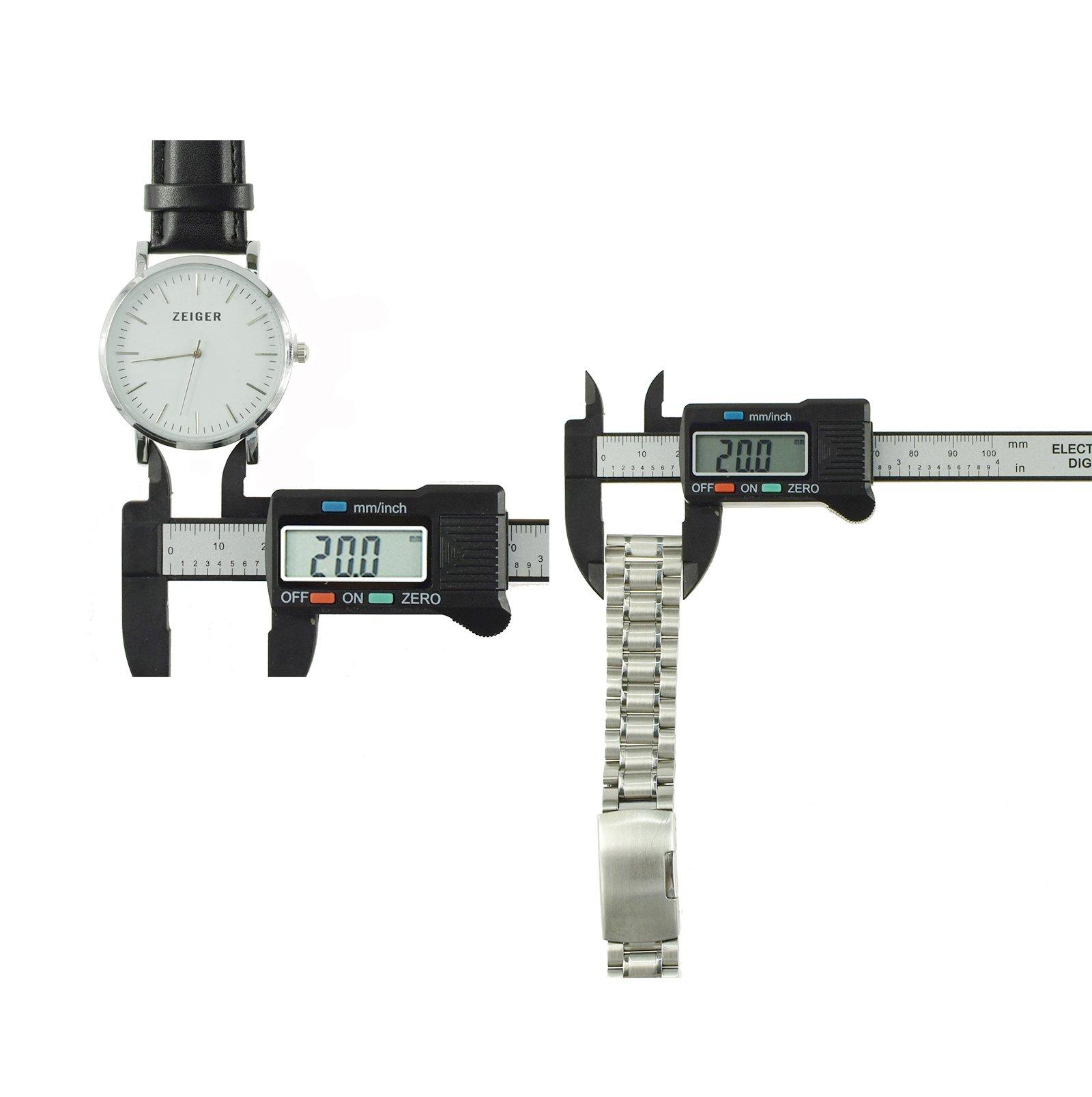 Zeiger-Unisex-Edelstahl-Leder-Uhrenarmband-Herren-Faltschliee-Damen-Uhr-Armband-18mm-20mm-22mm
