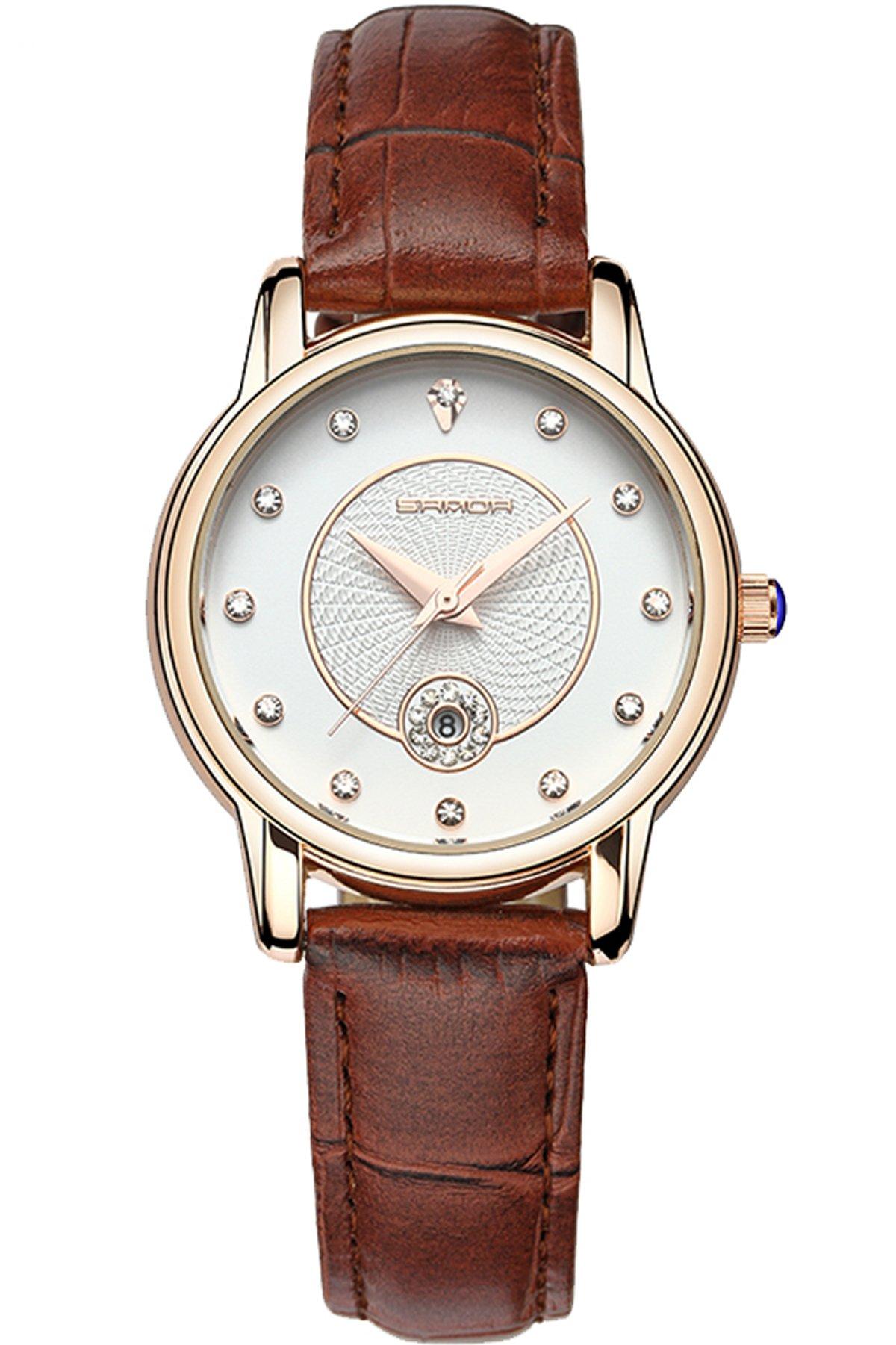 Loluka-Damenuhr-Fashion-Analog-Quarz-Leder-Armband-Elegante-Kristall-Datum-braun