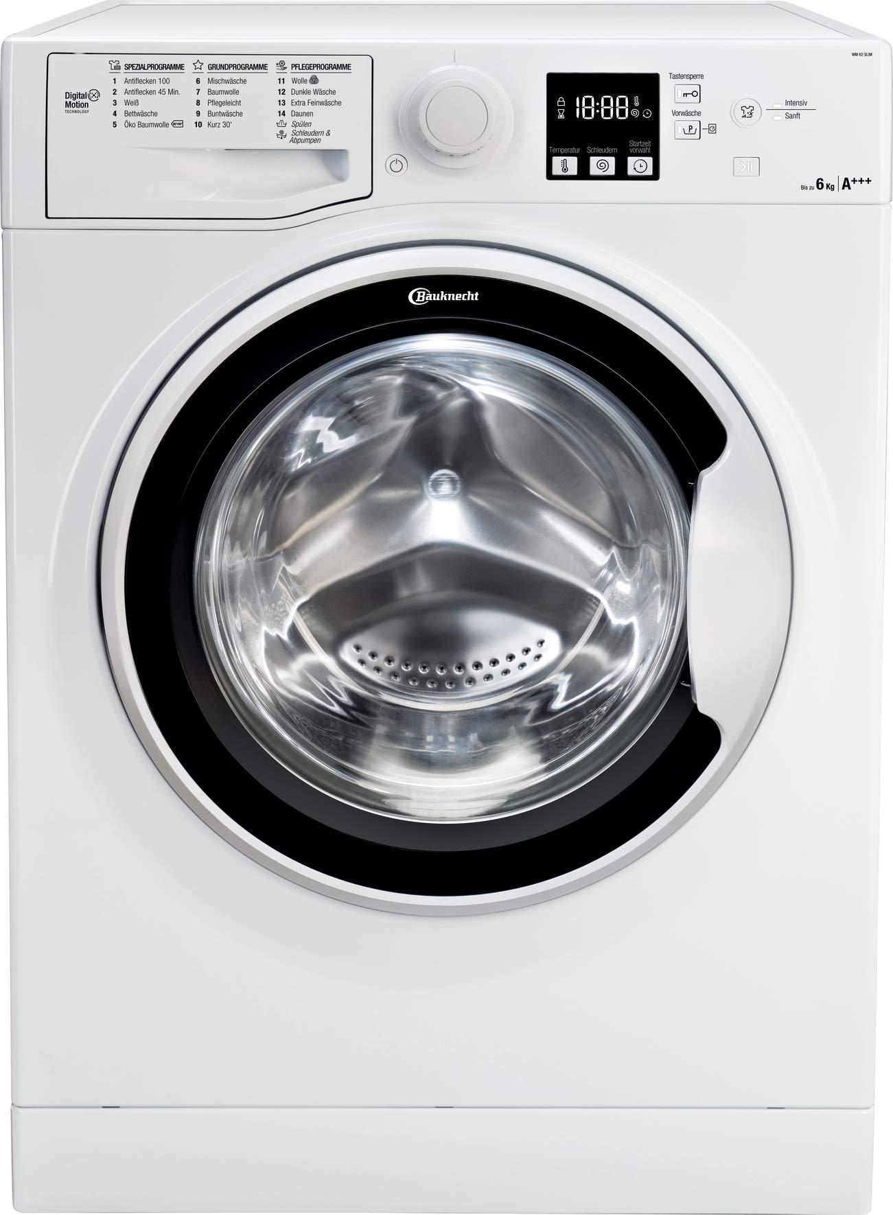 Bauknecht-WM-62-SLIM-Waschmaschine-FrontladerA-6-kg-1200-UpMAntiflecken-100WolleprogrammKurz-30DaunenStartzeitvorwahlWasserschutz